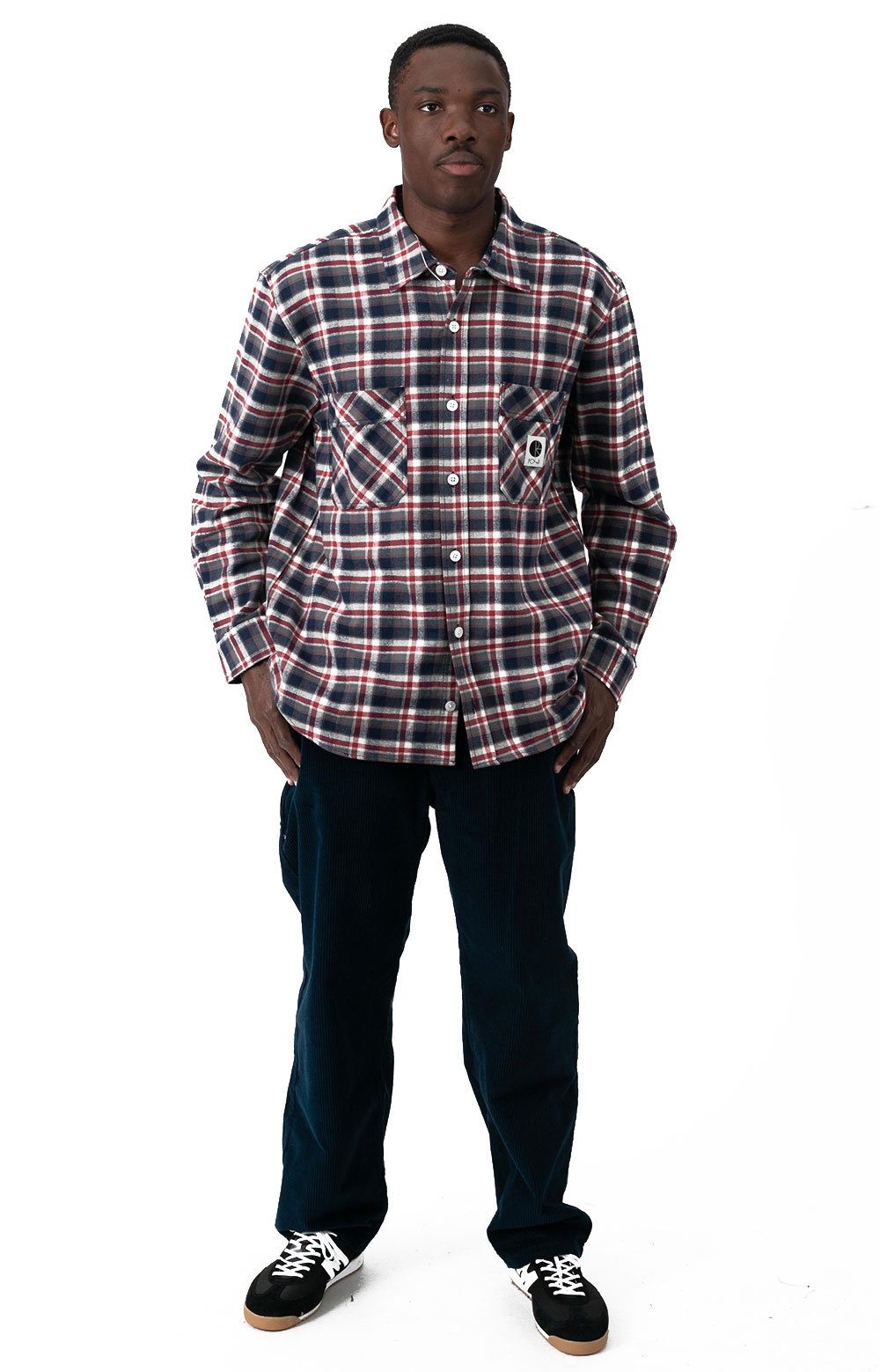 Flannel Button-Up Shirt - Navy/Red 4