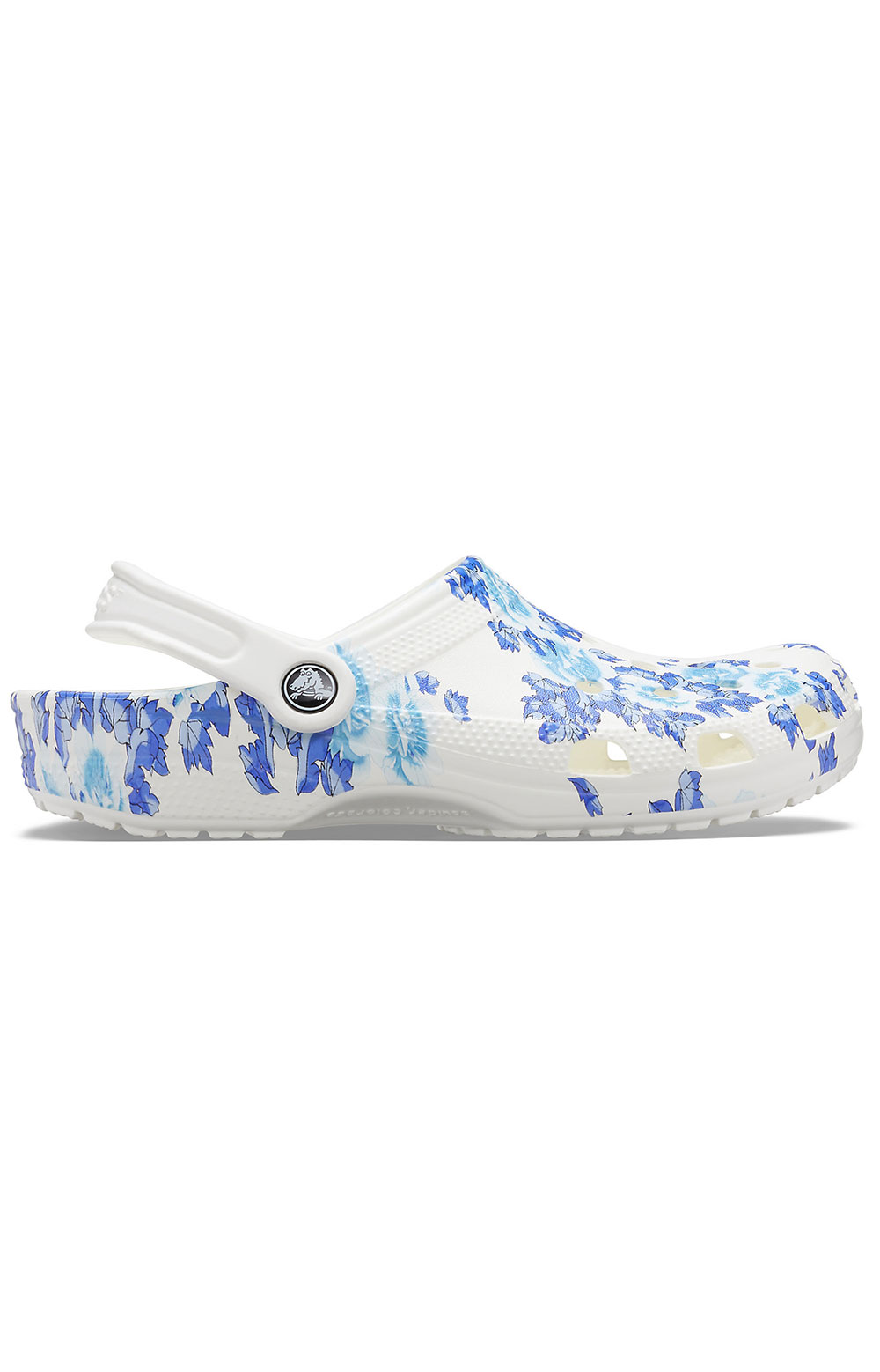 Classic Printed Floral Clogs - White/Blue 2