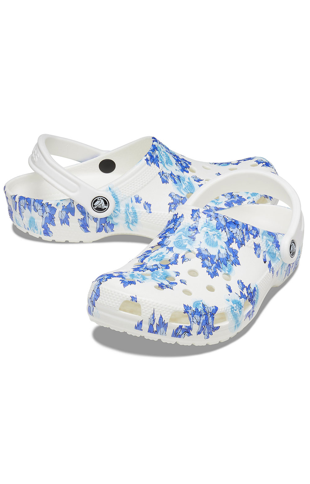 Classic Printed Floral Clogs - White/Blue 3