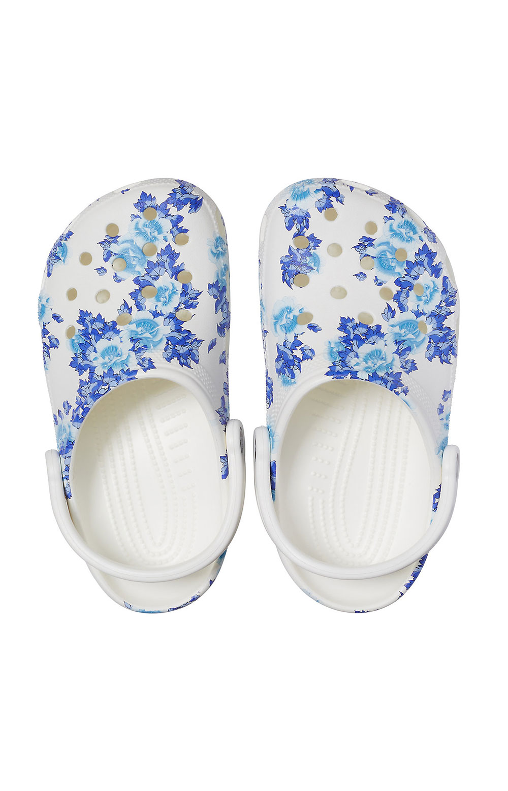 Classic Printed Floral Clogs - White/Blue 4