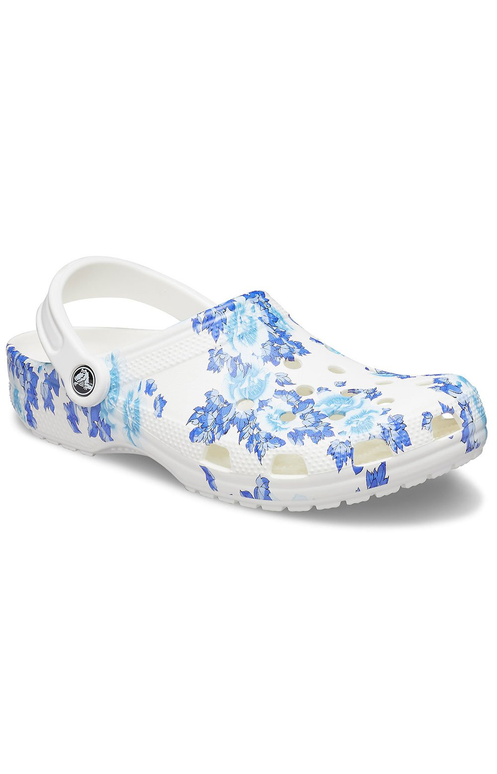Classic Printed Floral Clogs - White/Blue
