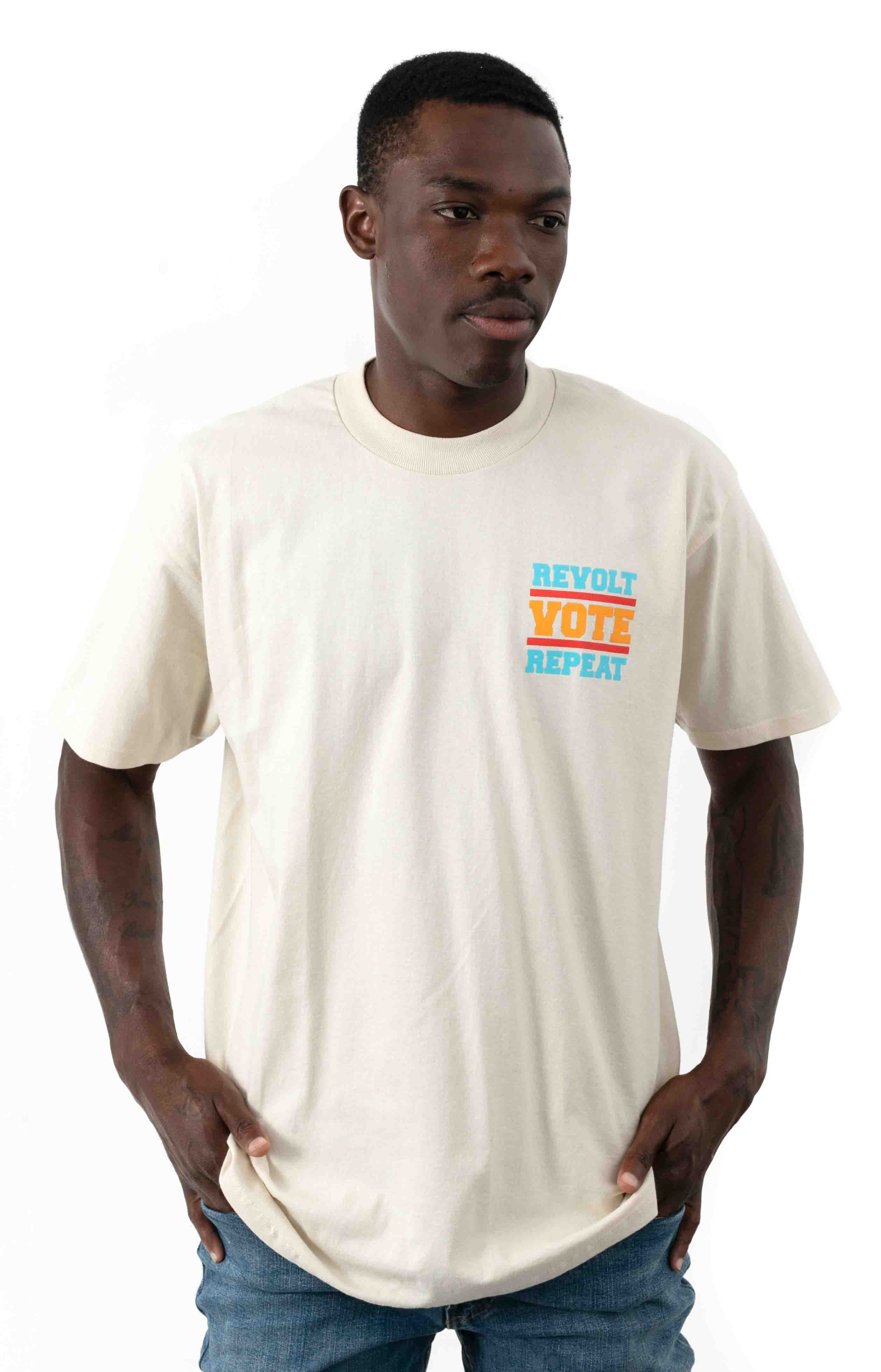 Revolt Vote Repeat T-Shirt - Cream  2