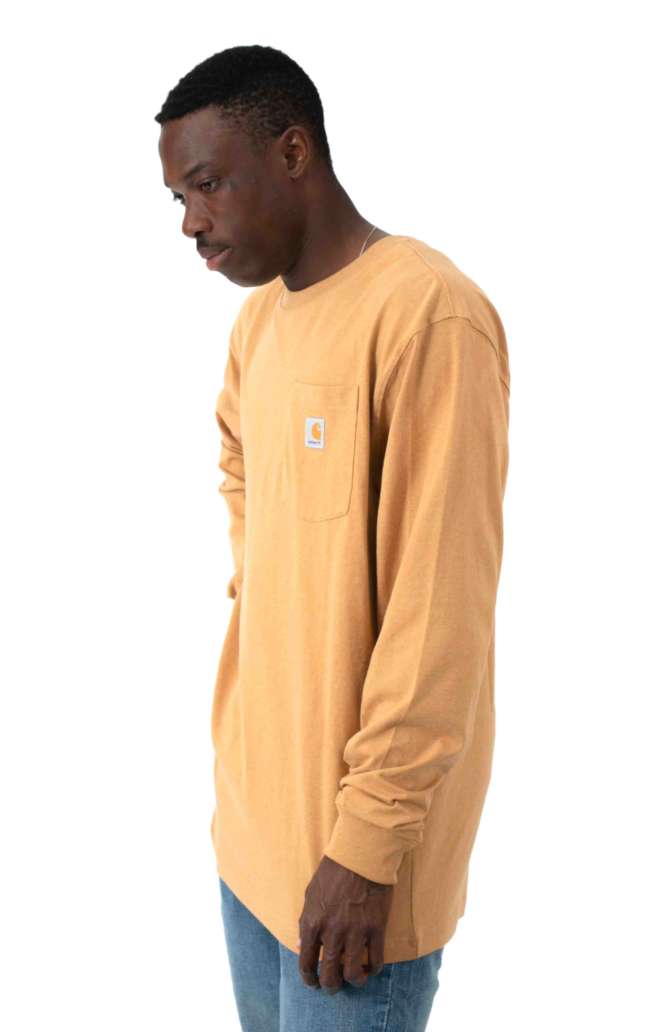 (K126) L/S Workwear Pocket Shirt - Yellowstone Heather  2