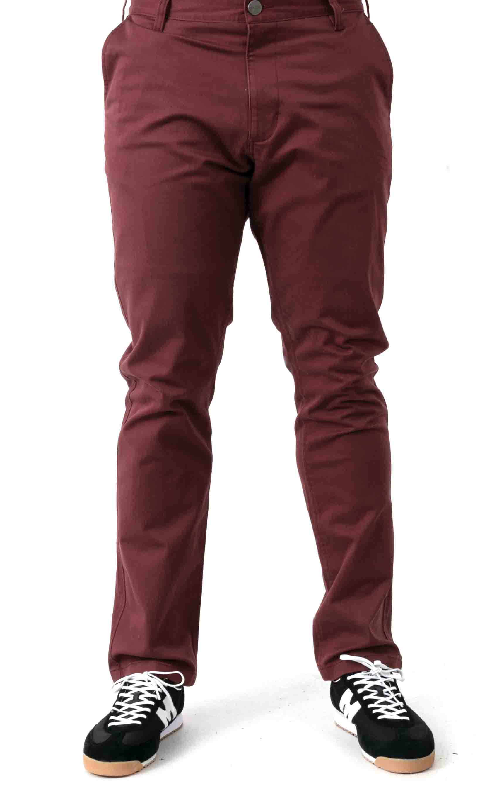 Week-End Stretch Straight Fit Pants - Oxblood Red 2