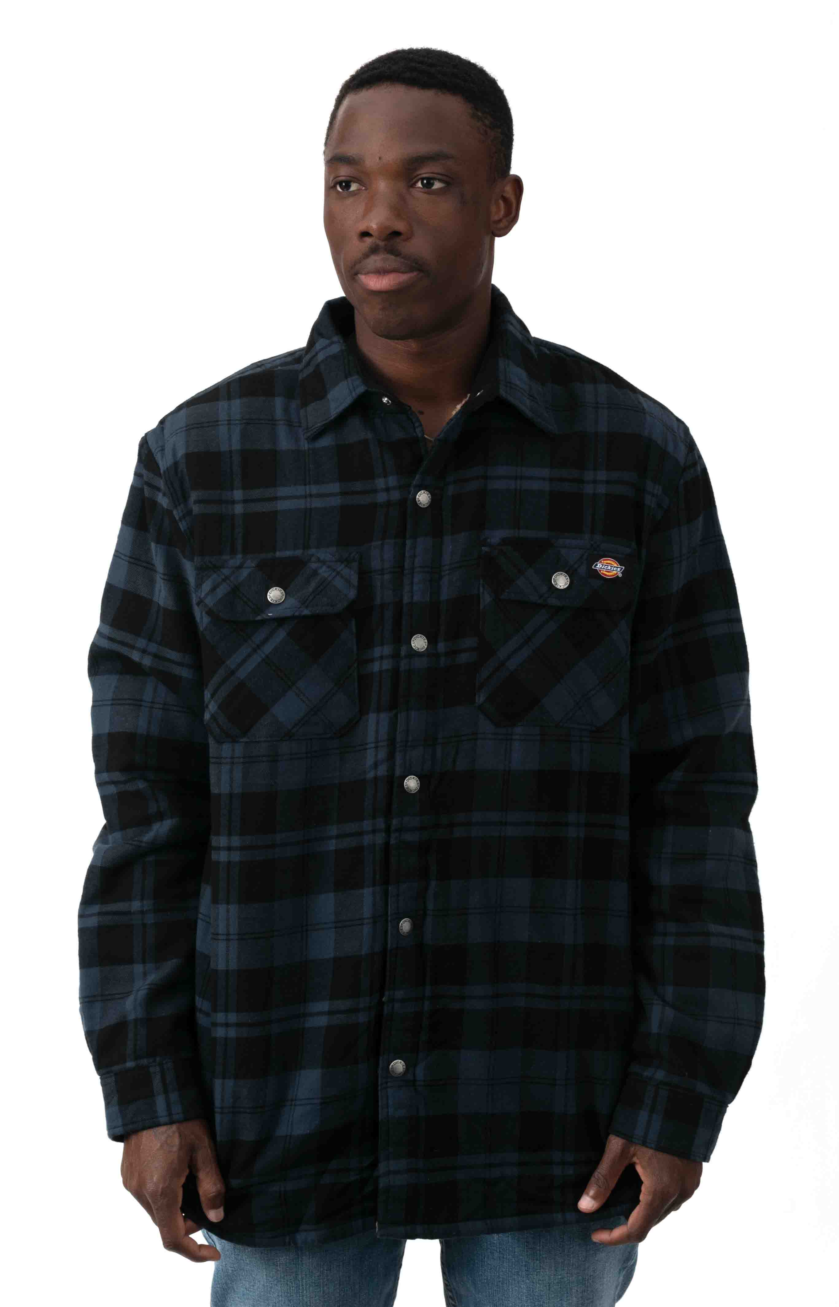 (TJ210OP1) Sherpa Lined Flannel Shirt Jacket with Hydroshield - Ink Navy Plaid