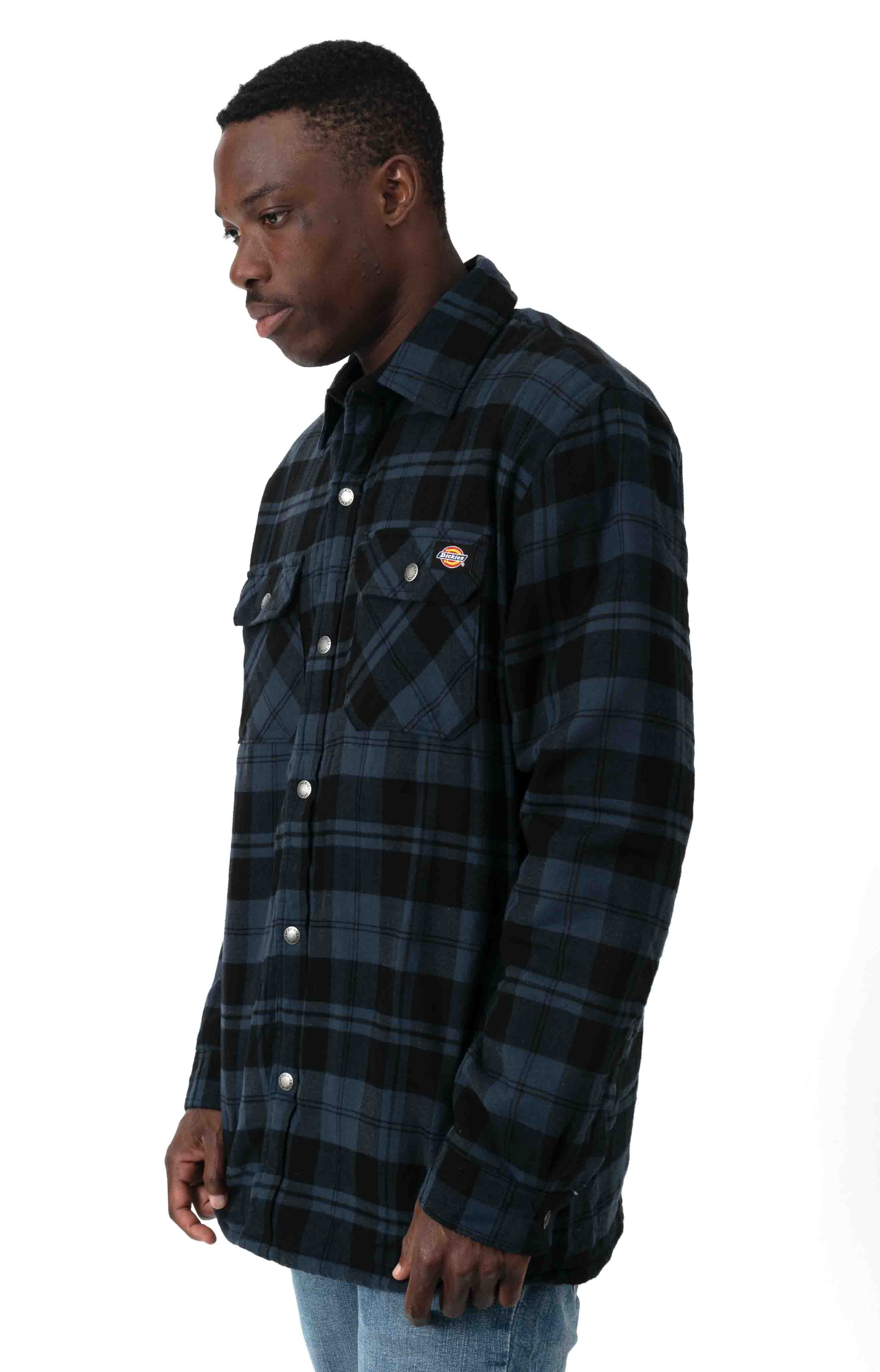 (TJ210OP1) Sherpa Lined Flannel Shirt Jacket with Hydroshield - Ink Navy Plaid  2