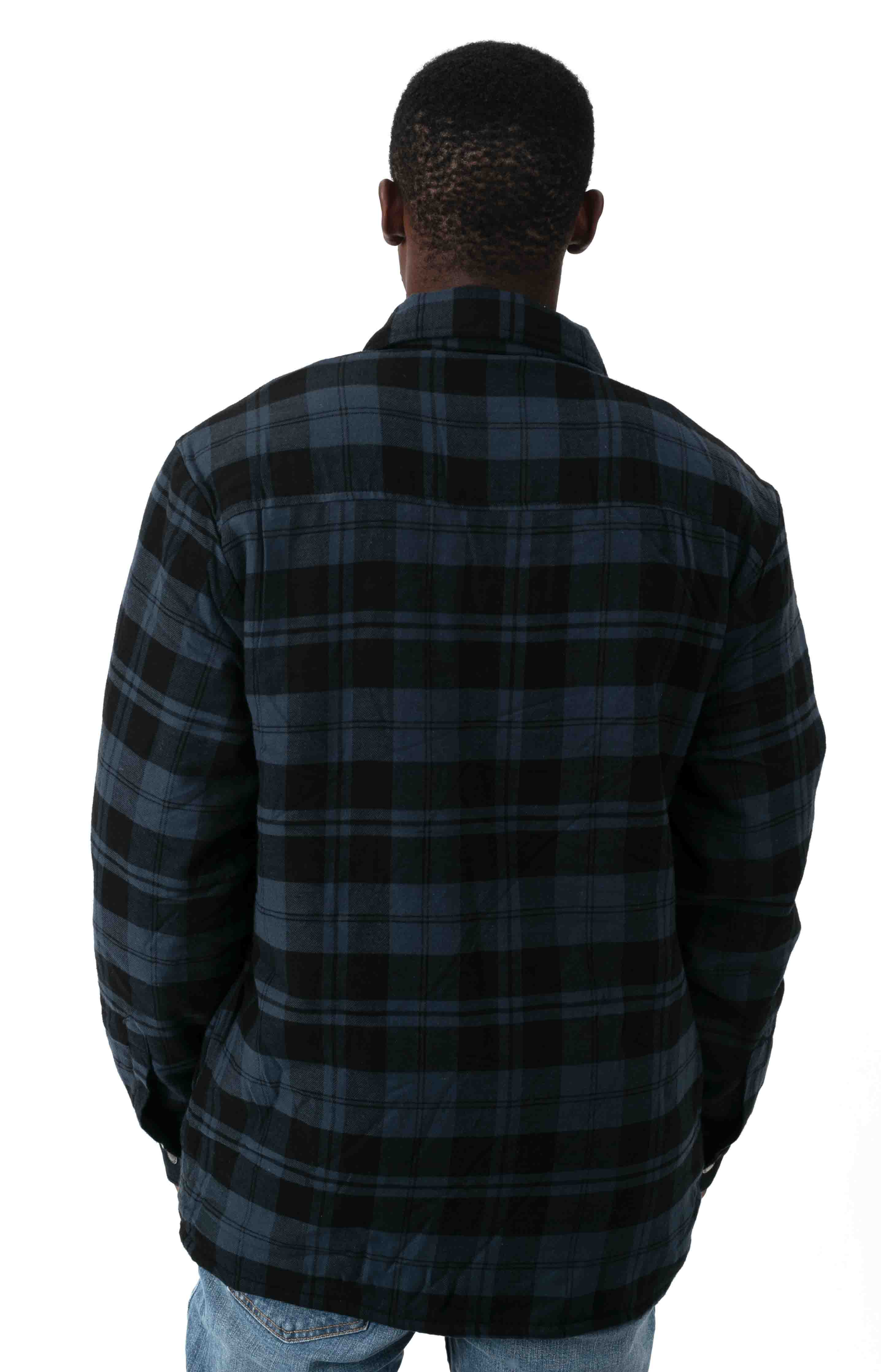 (TJ210OP1) Sherpa Lined Flannel Shirt Jacket with Hydroshield - Ink Navy Plaid  3