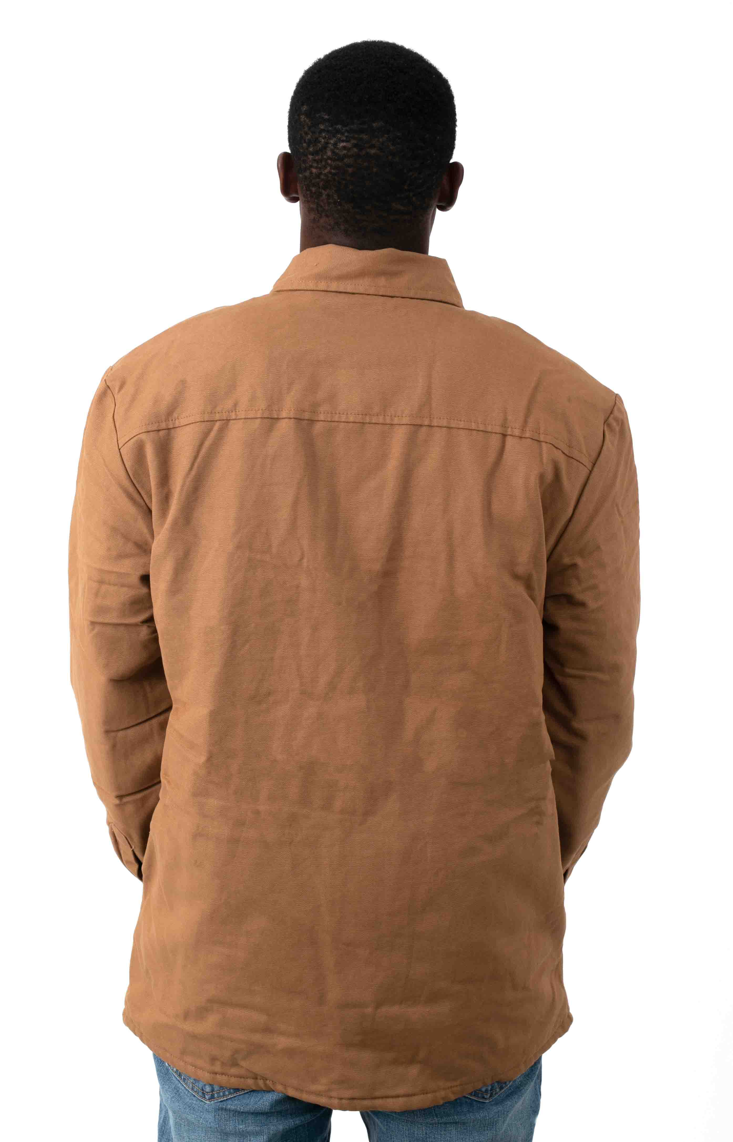 (TJ215BD) Flannel Lined Duck Shirt Jacket with Hydroshield - Brown Duck 3