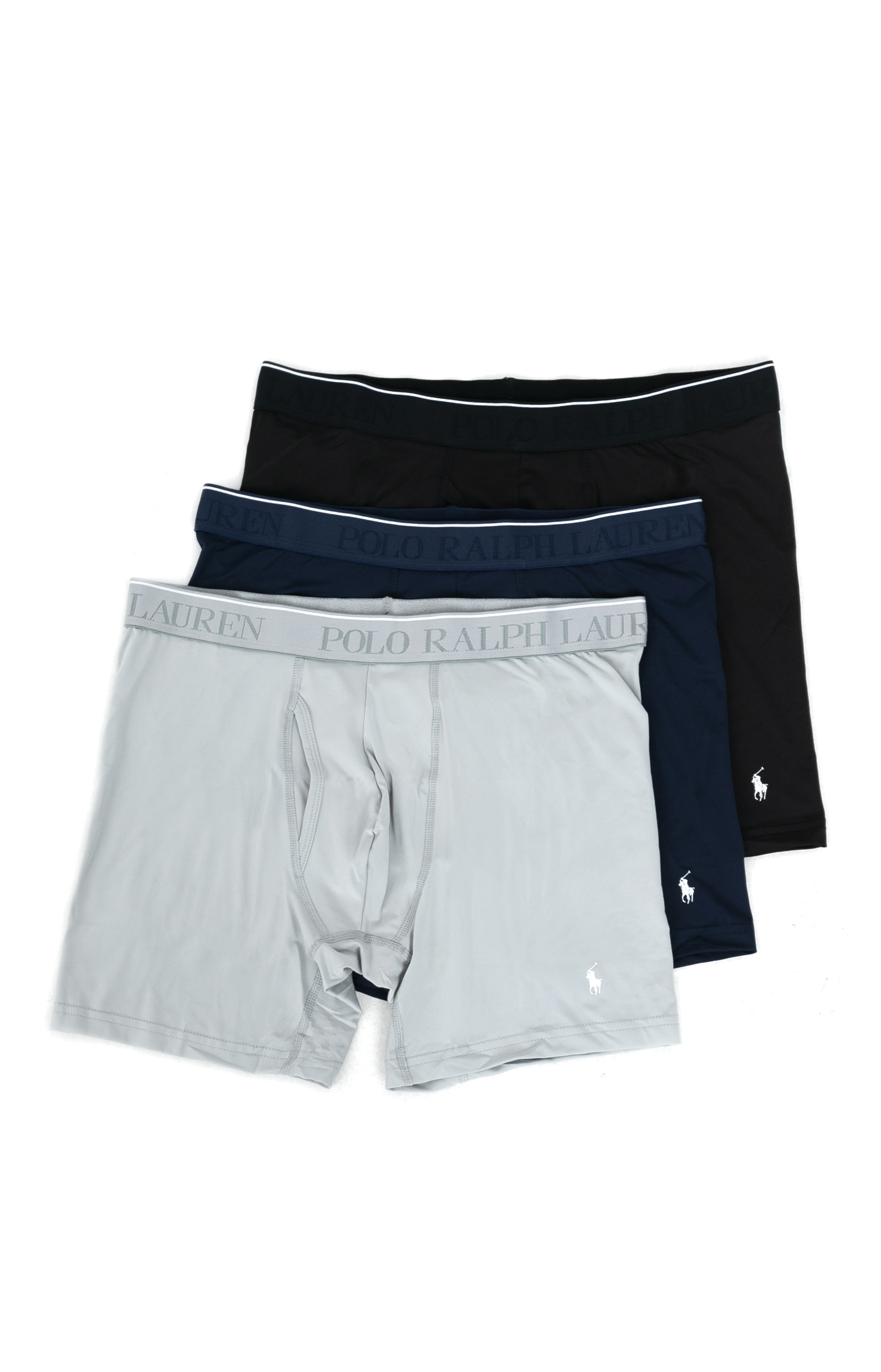 3 Pack Microfiber Boxer Briefs - Black/Navy/Grey