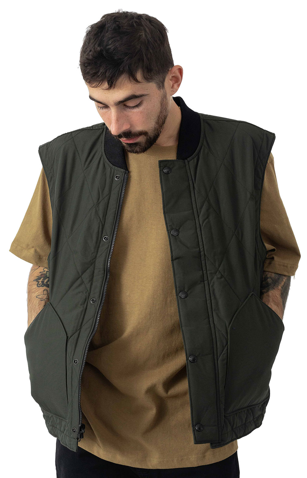 Quilted Pack Vest - Dark Otter Green