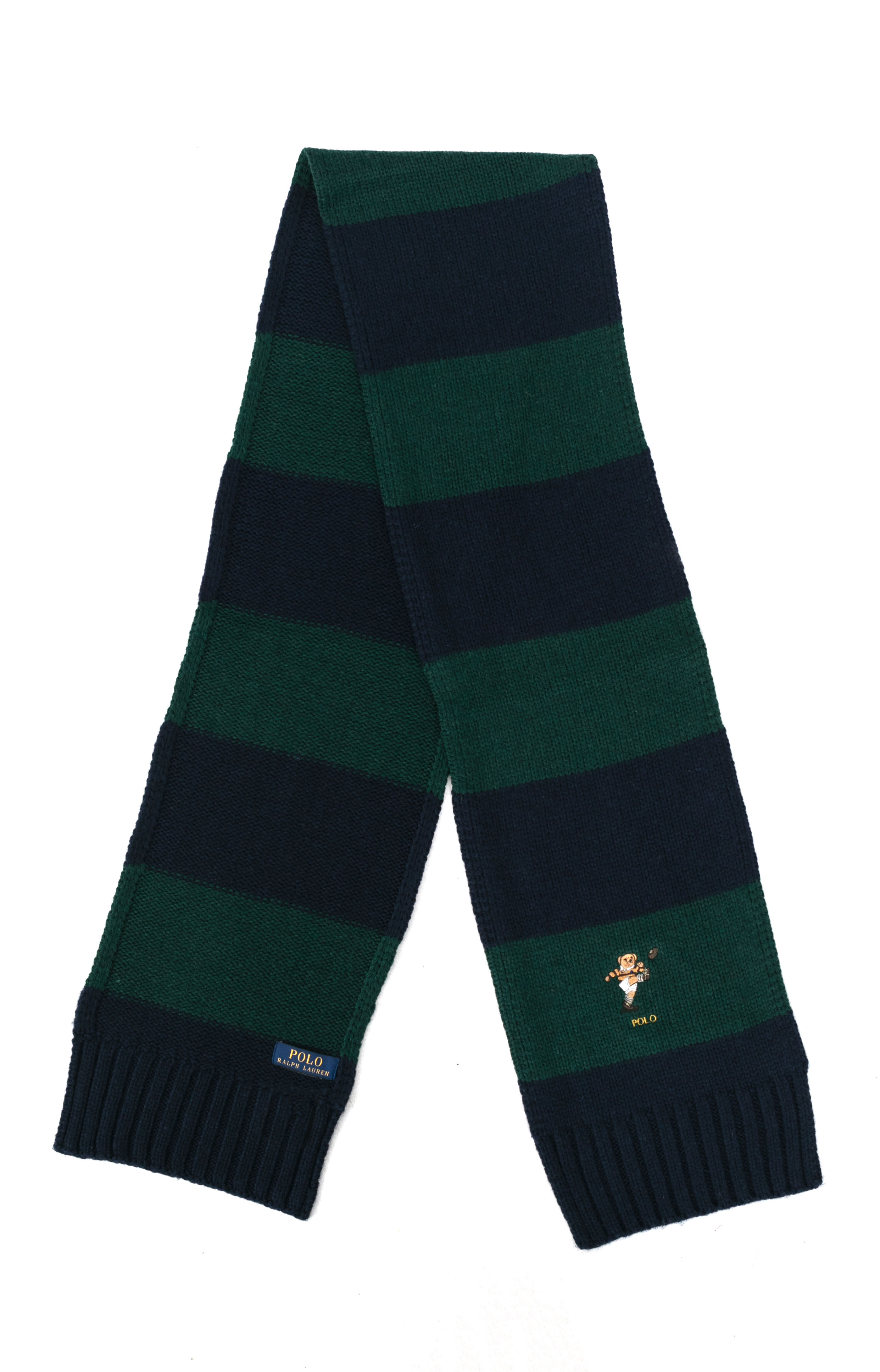 Colorblock Kicker Bear Scarf - College Green/Navy