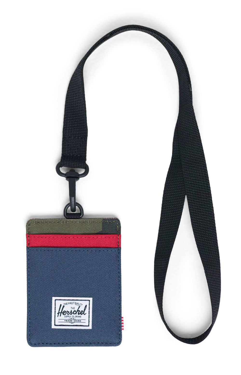 Charlie Wallet Lanyard - Navy/Red/Woodland Camo