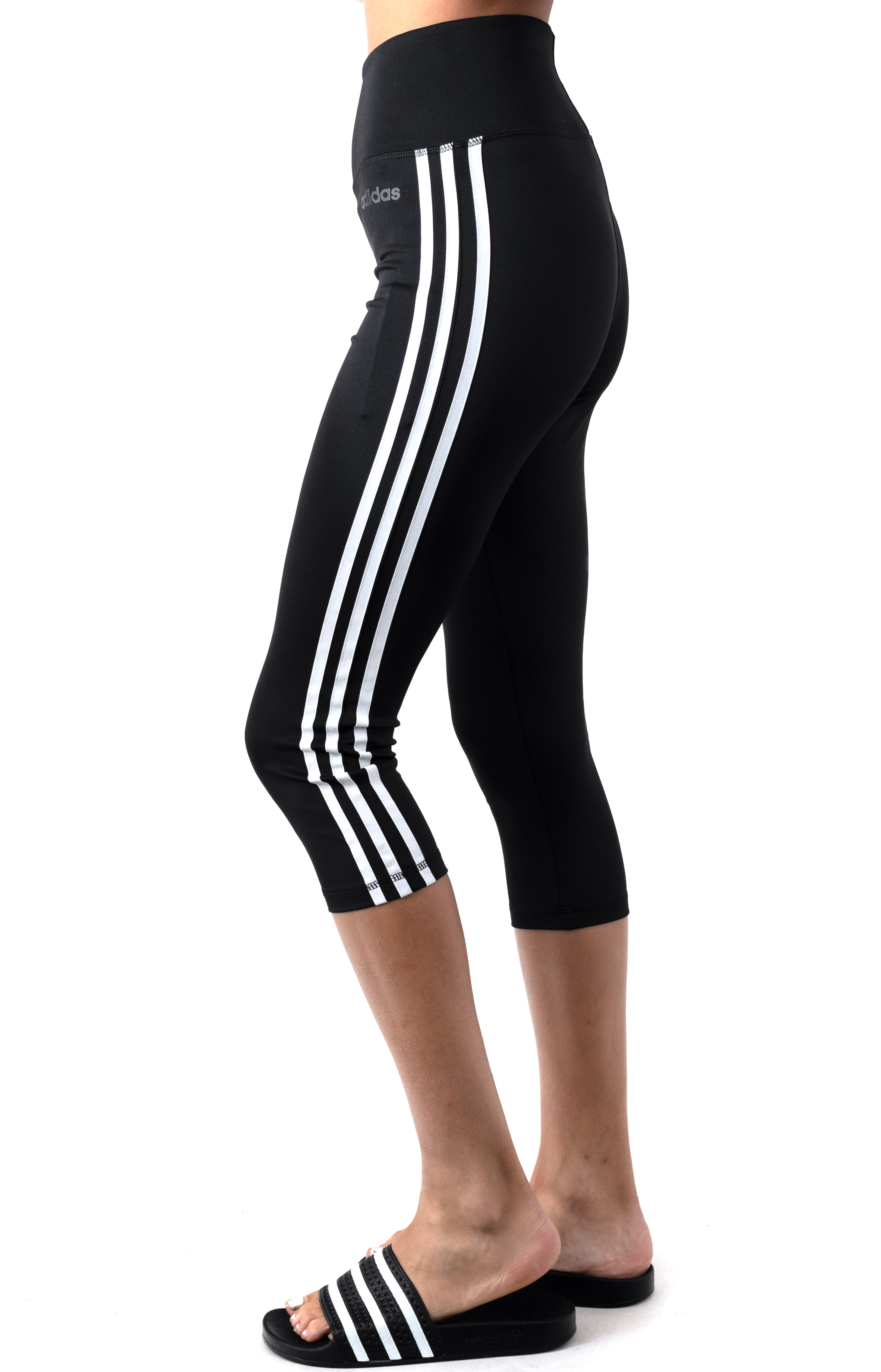 Design 2 Move 3 Stripes 3/4 Tights - Black/White