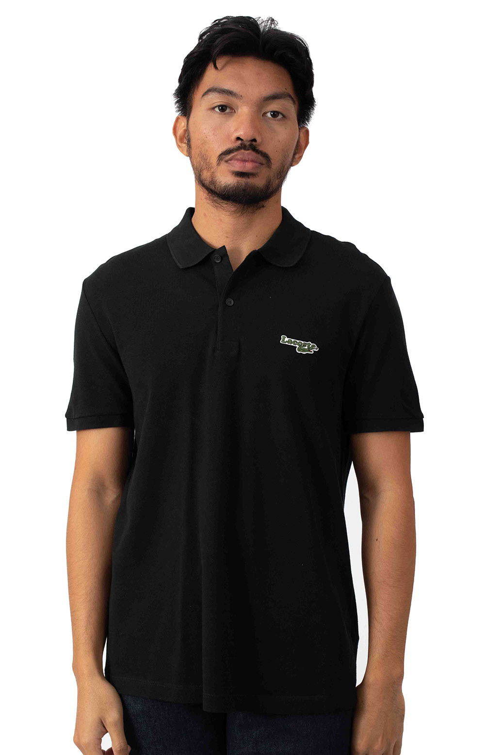 Regular Fit Solid Cotton Piqué Polo With Badge - Black
