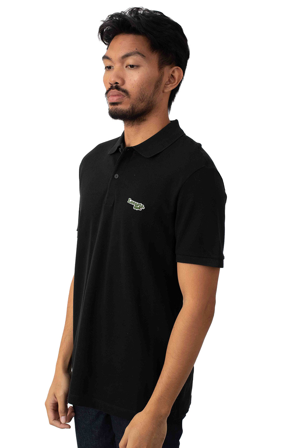 Regular Fit Solid Cotton Piqué Polo With Badge - Black  2