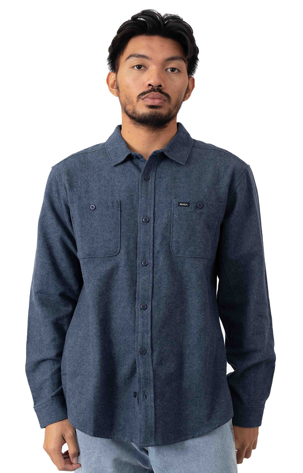 Harvest Button-Up Flannel Shirt - Moody Blue