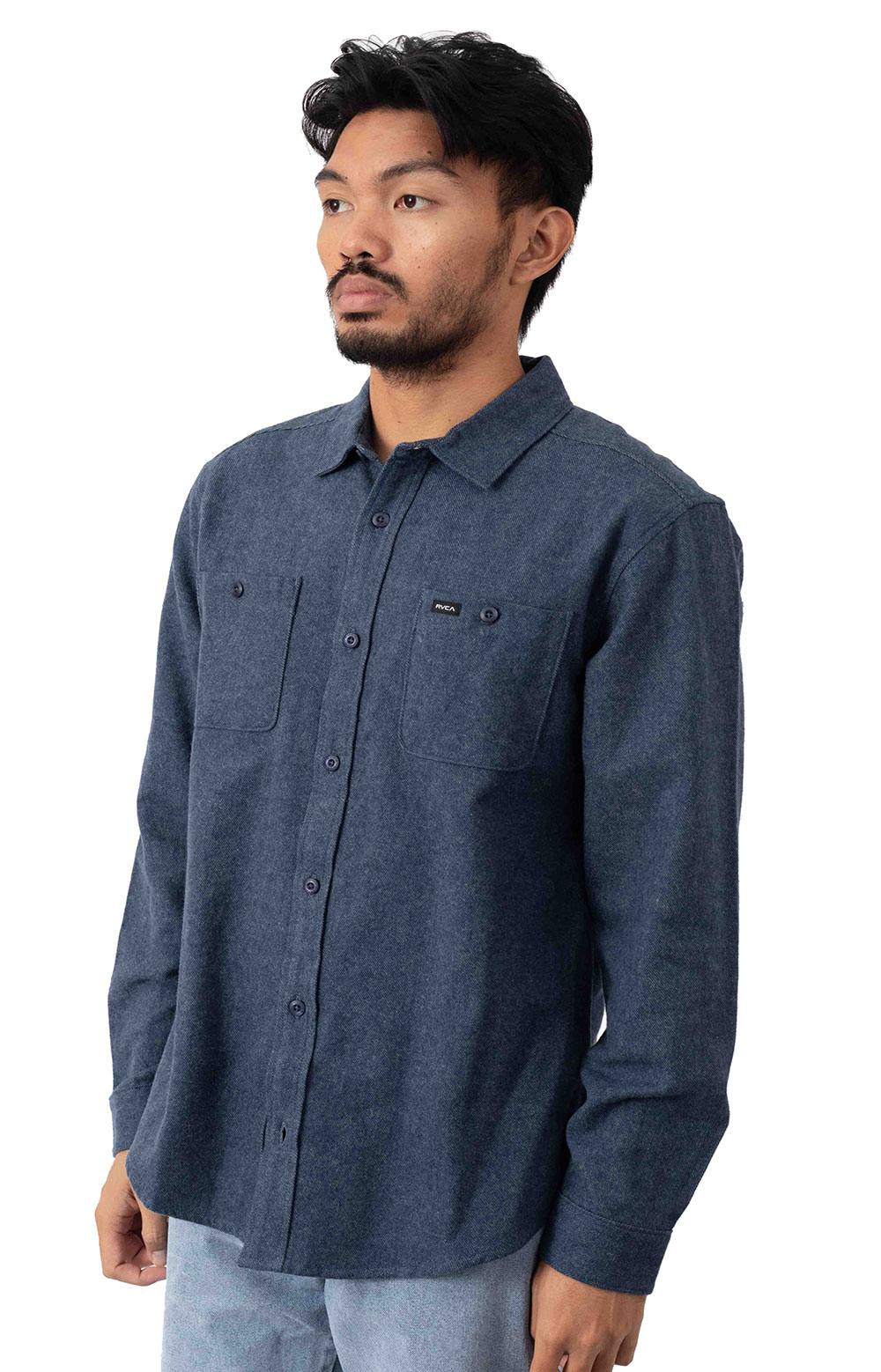 Harvest Button-Up Flannel Shirt - Moody Blue  2