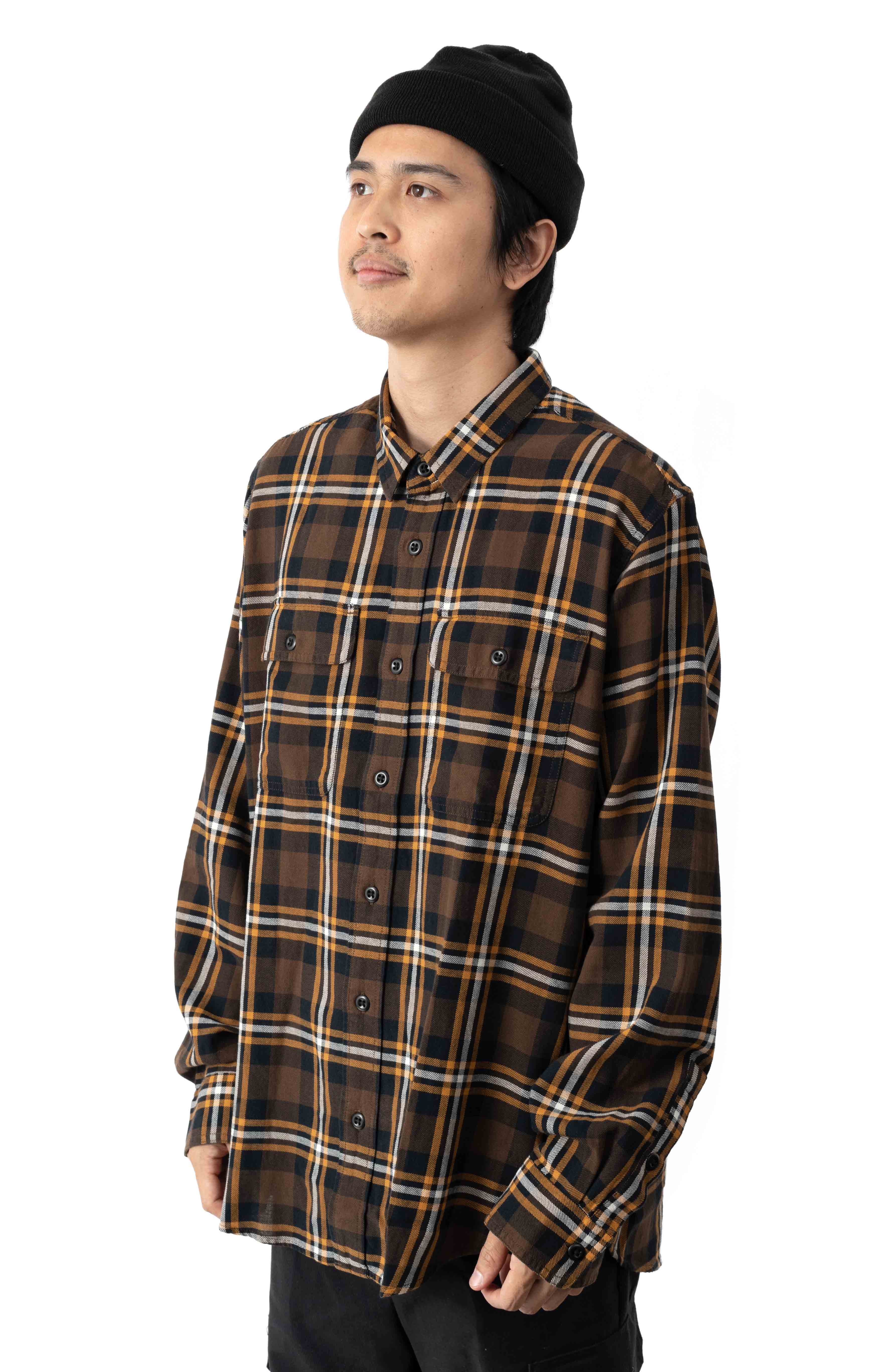Scout Button-Up Shirt - Brown/Black/Gold 2