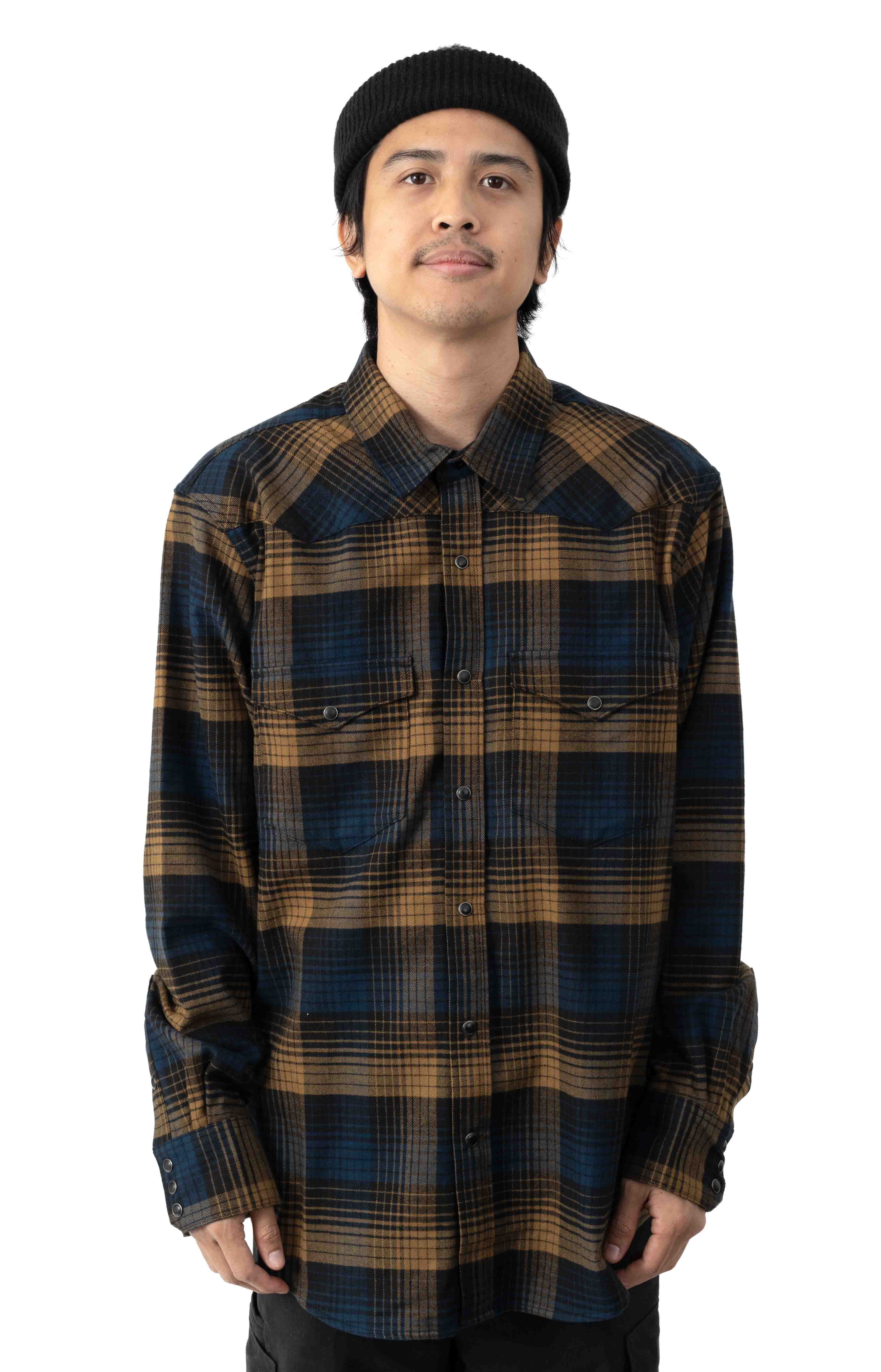 Western Flannel Button-Up Shirt - Plaid