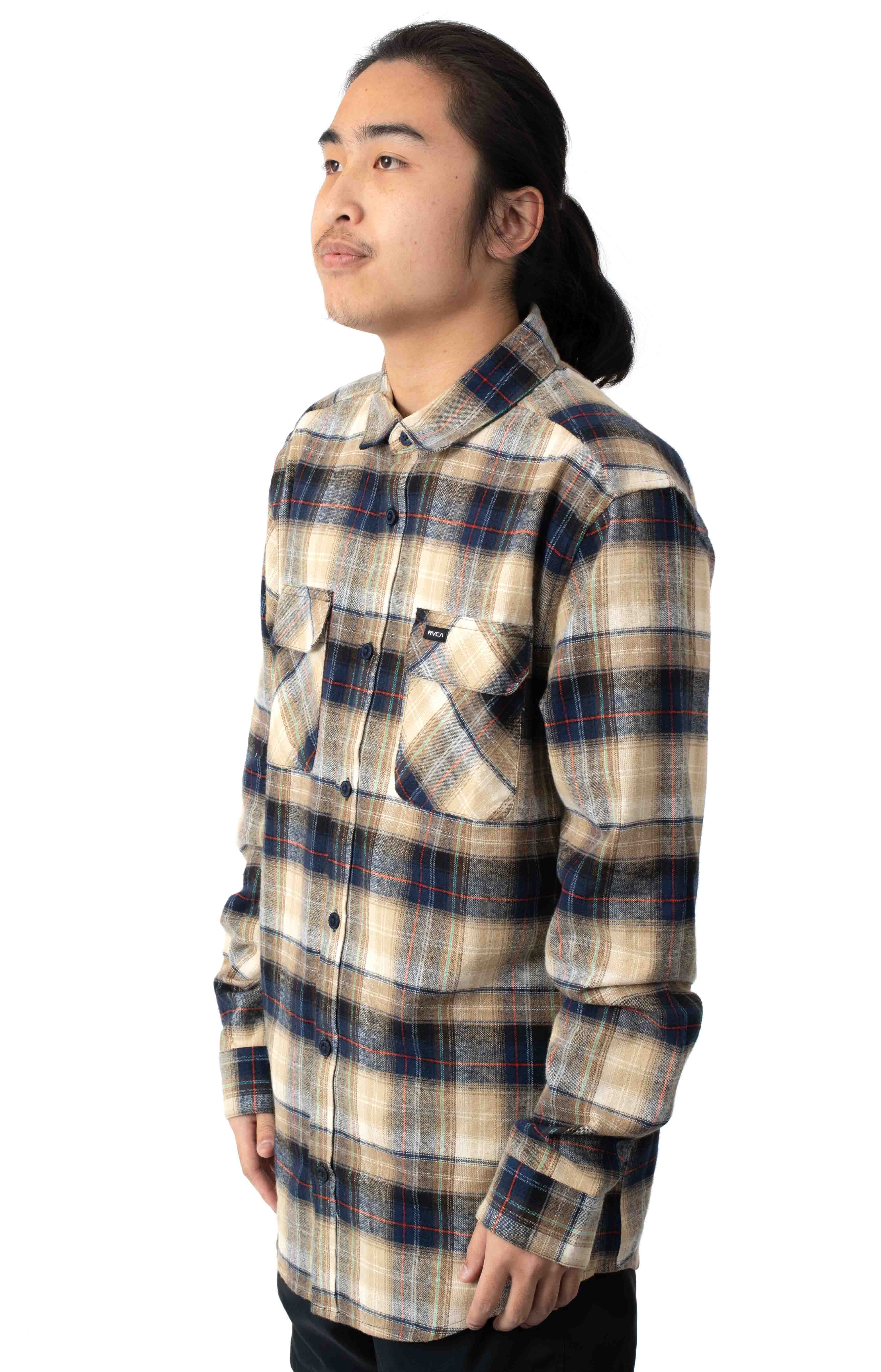 Emerson Flannel Button-Up Shirt - Navy  2