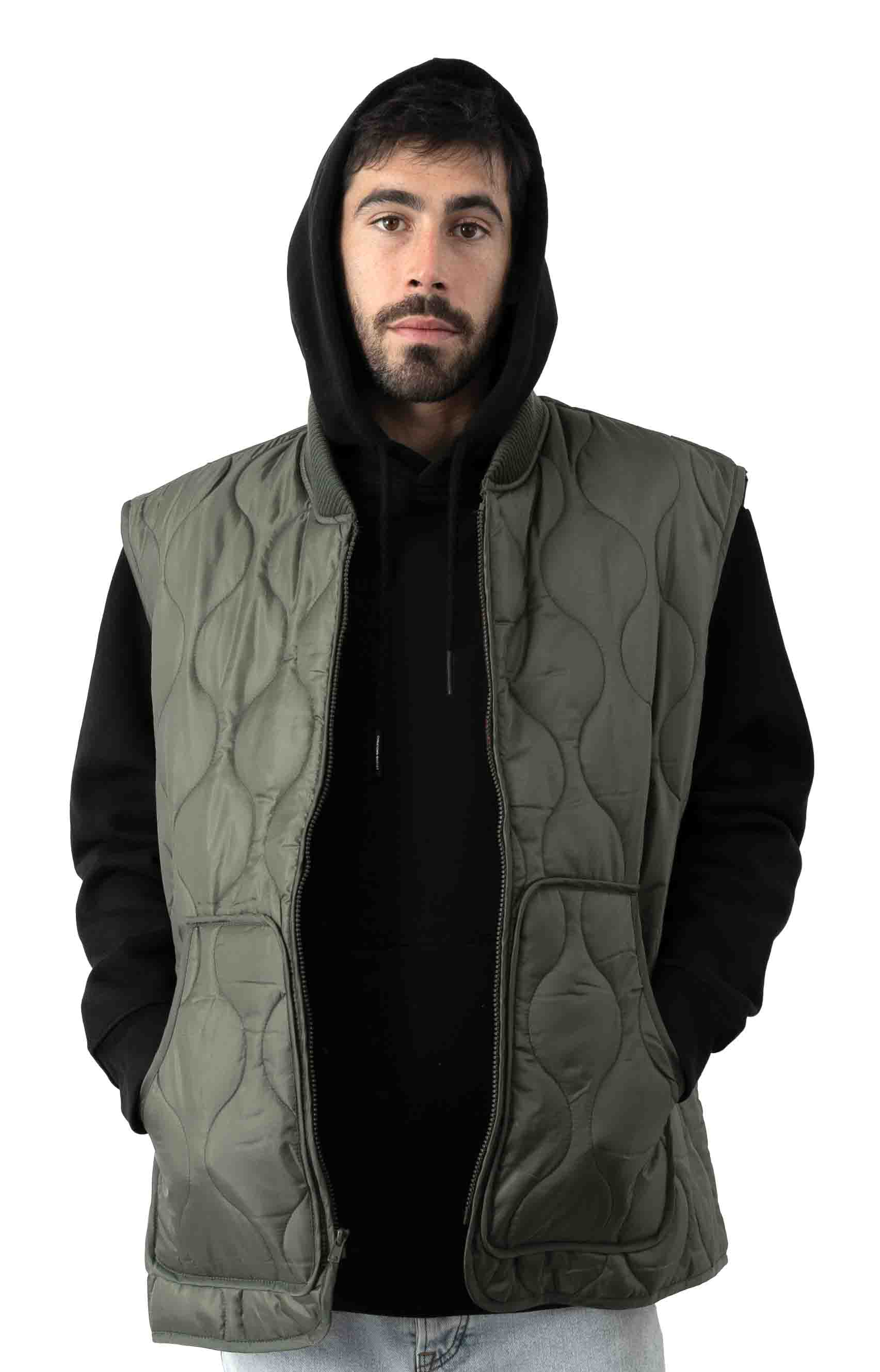 (10431) Quilted Woobie Vest - Olive Drab