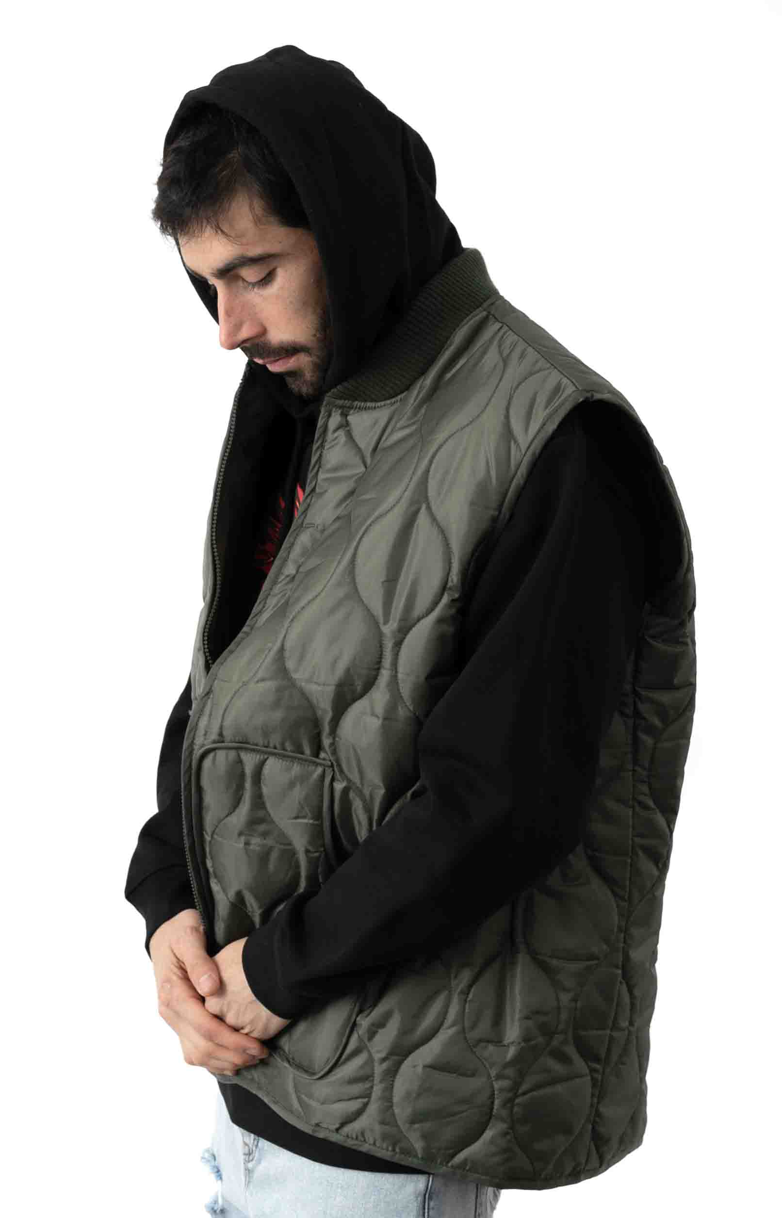 (10431) Quilted Woobie Vest - Olive Drab 2
