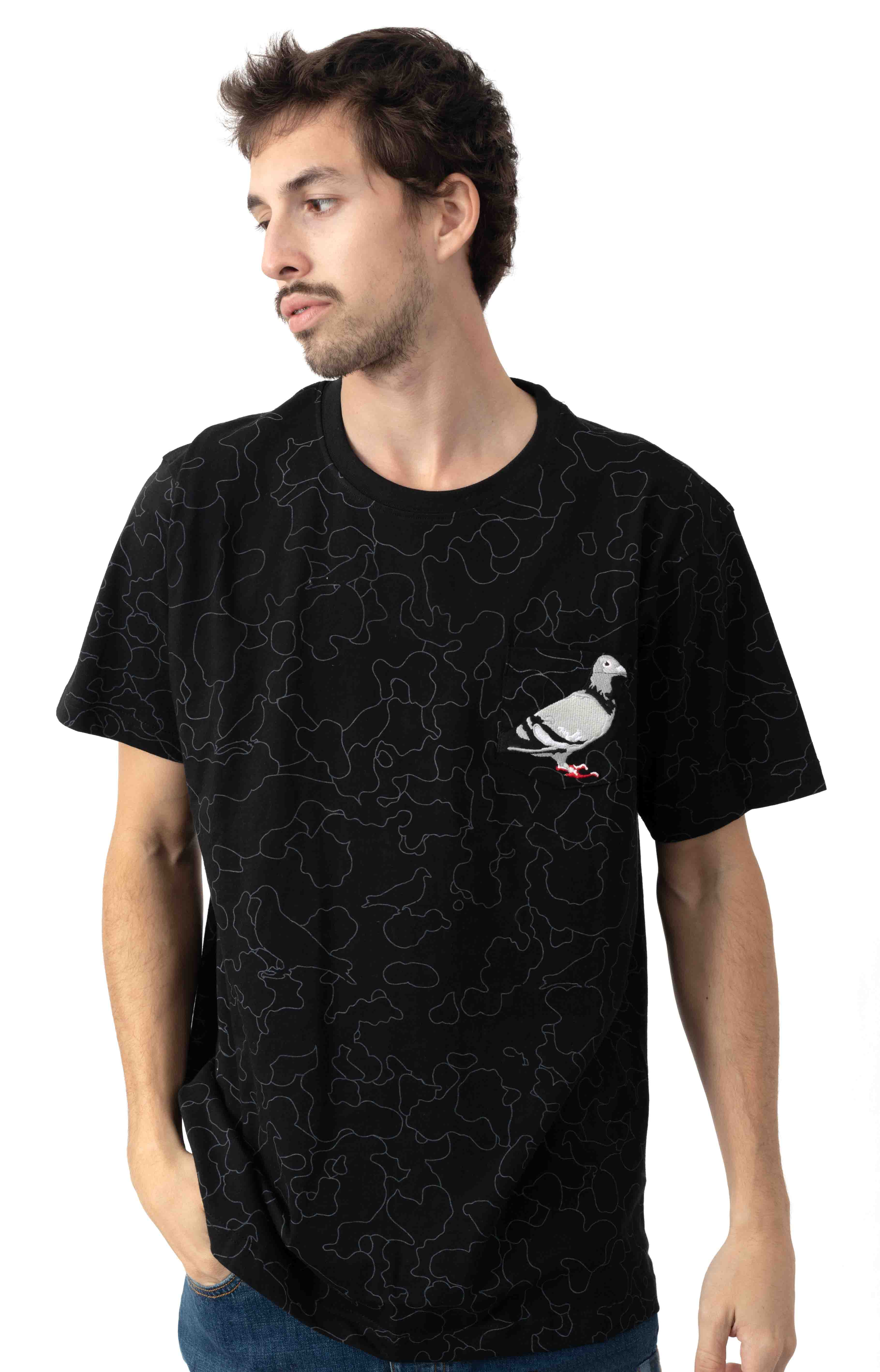 Camo Pigeon Pocket T-Shirt - Black