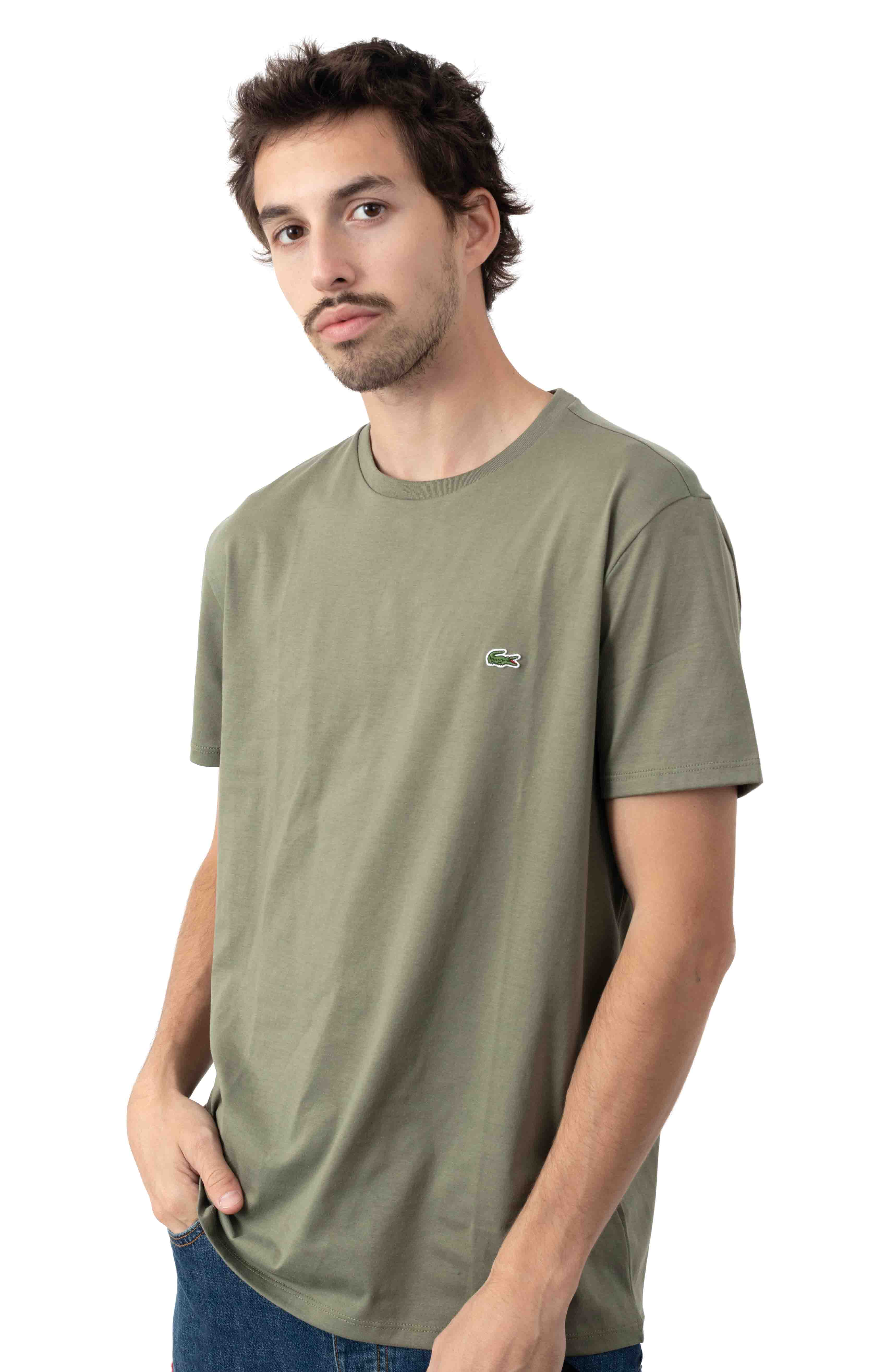 Crewneck Pima Cotton Jersey T-Shirt - Khaki Green