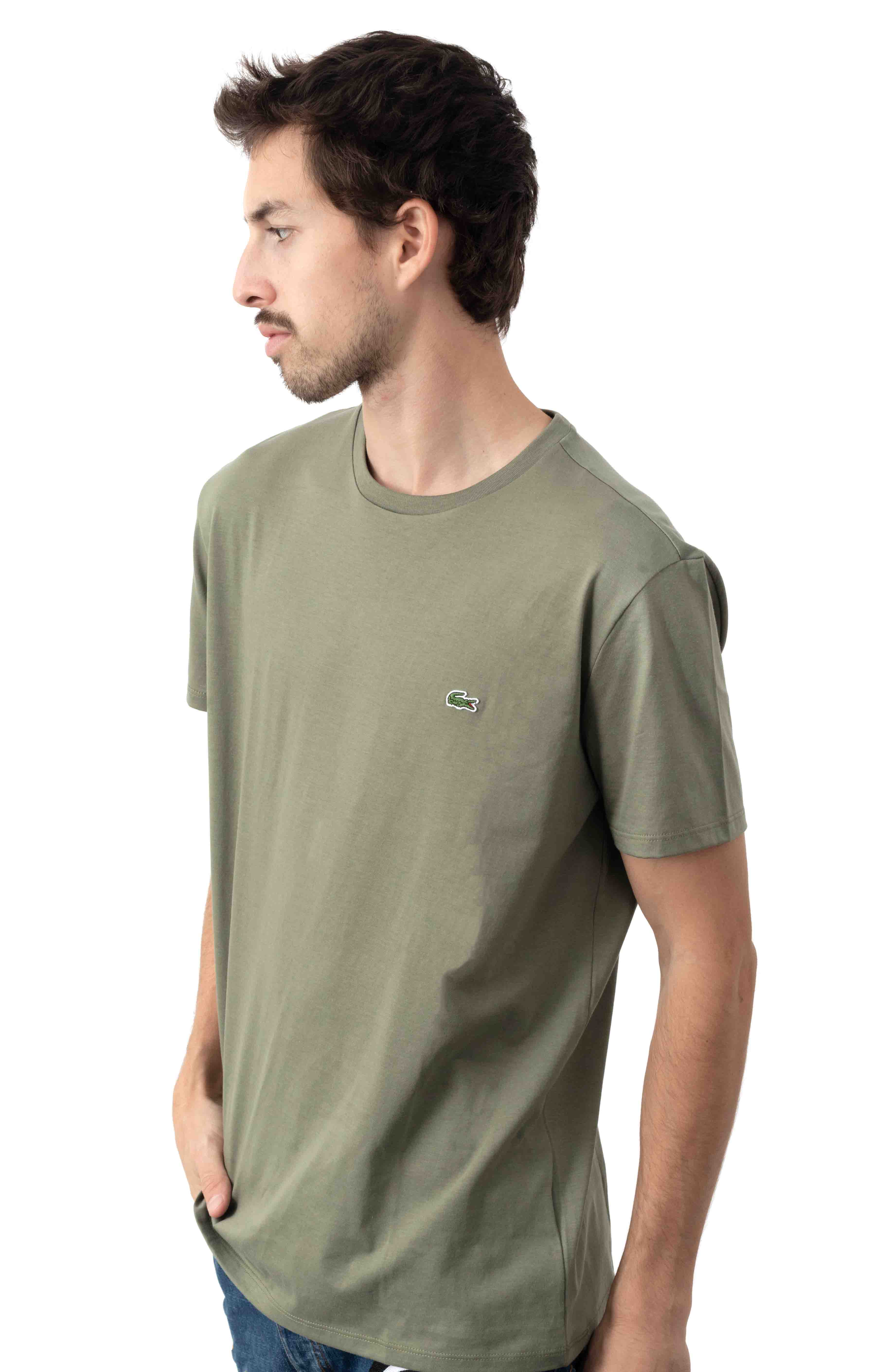 Crewneck Pima Cotton Jersey T-Shirt - Khaki Green  2