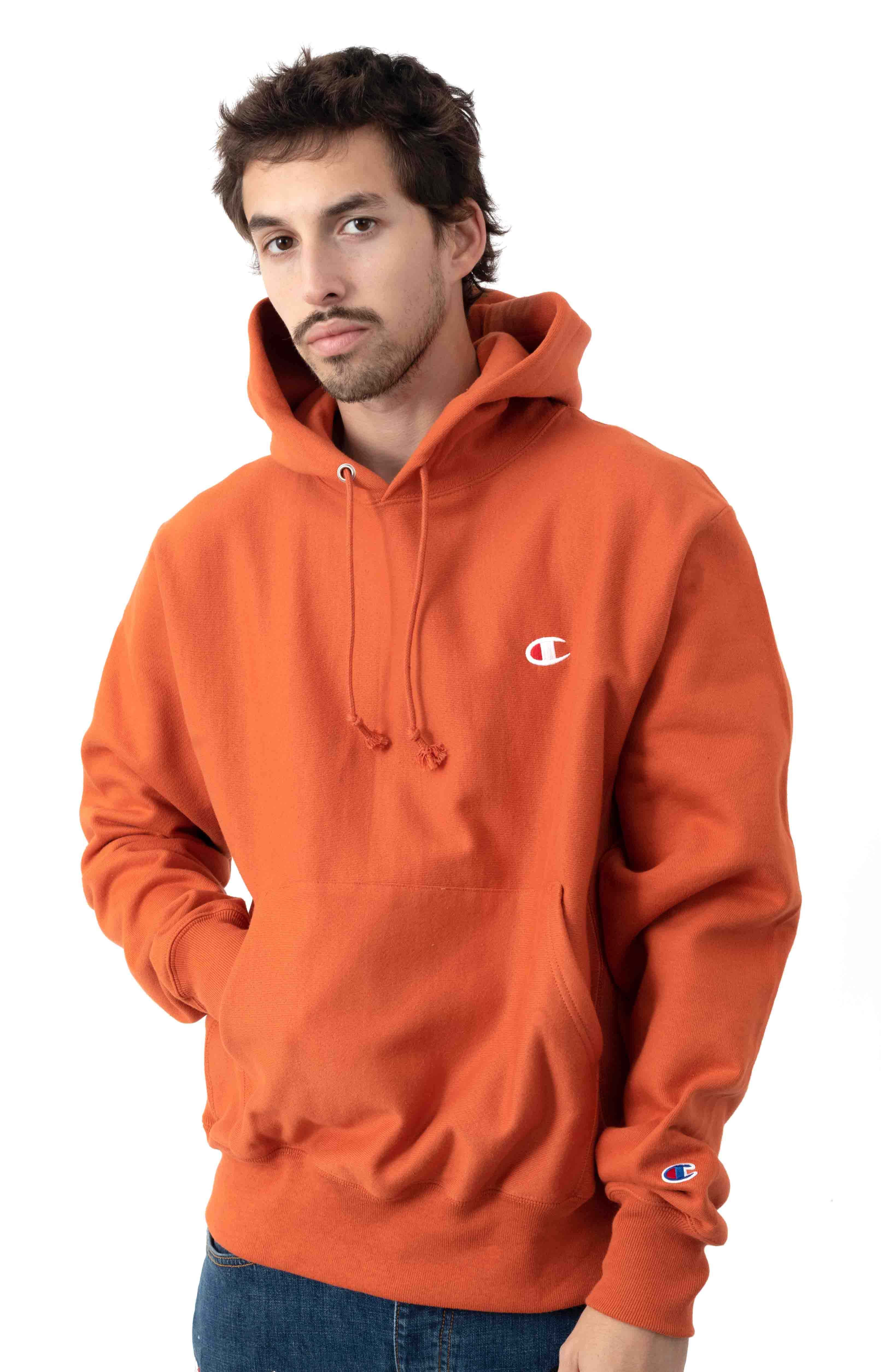 Reverse Weave Pullover Hoodie - Ambitious Orange