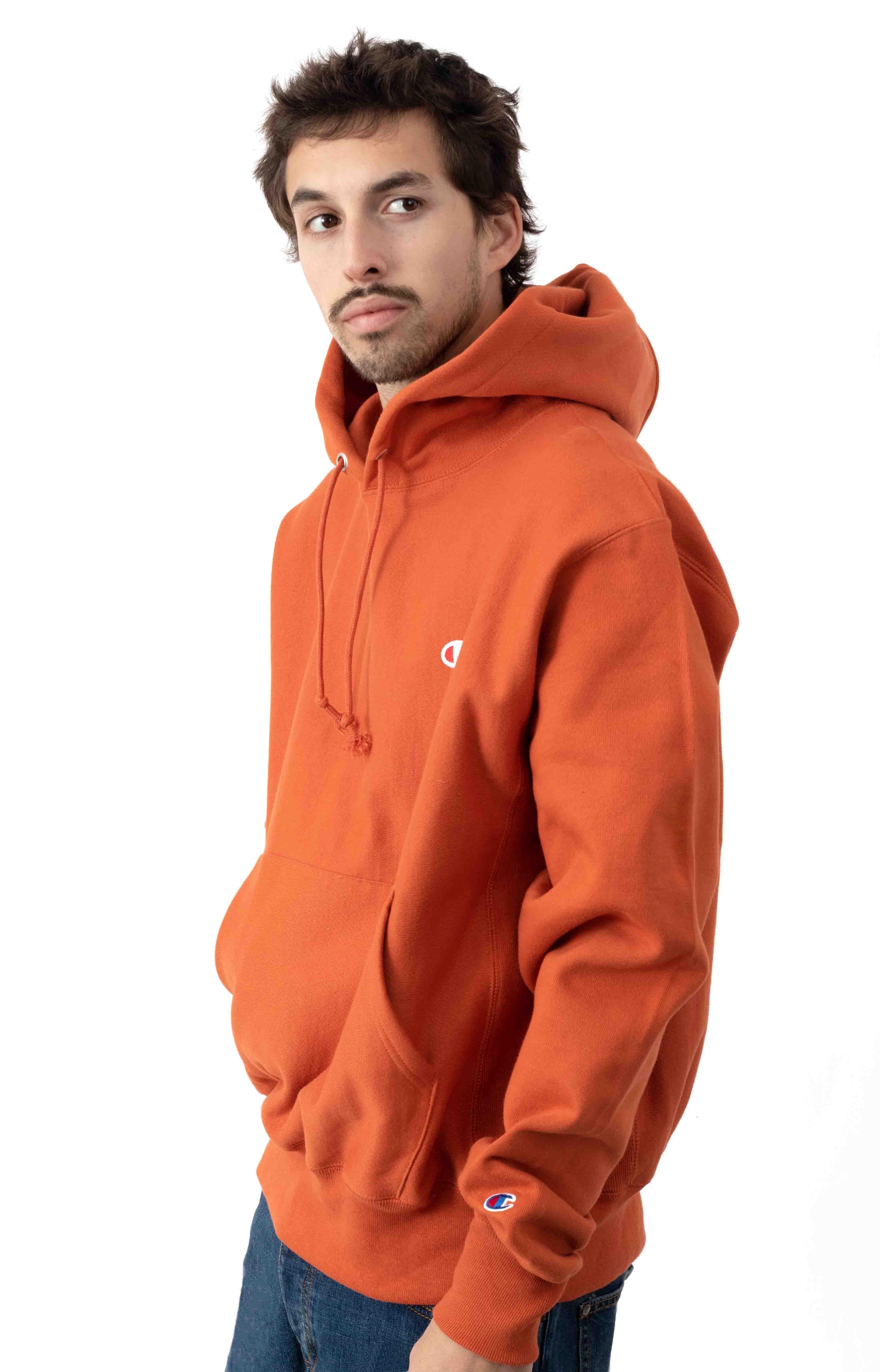 Reverse Weave Pullover Hoodie - Ambitious Orange  2