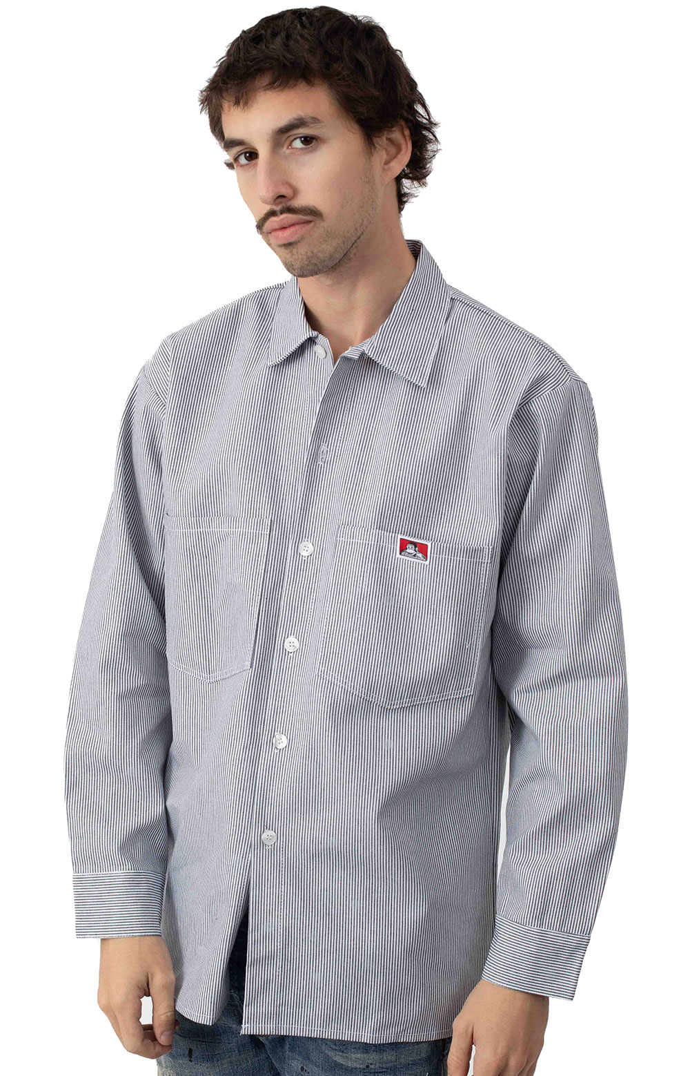 L/S Front Stripe Button-Up Shirt - Hickory  2