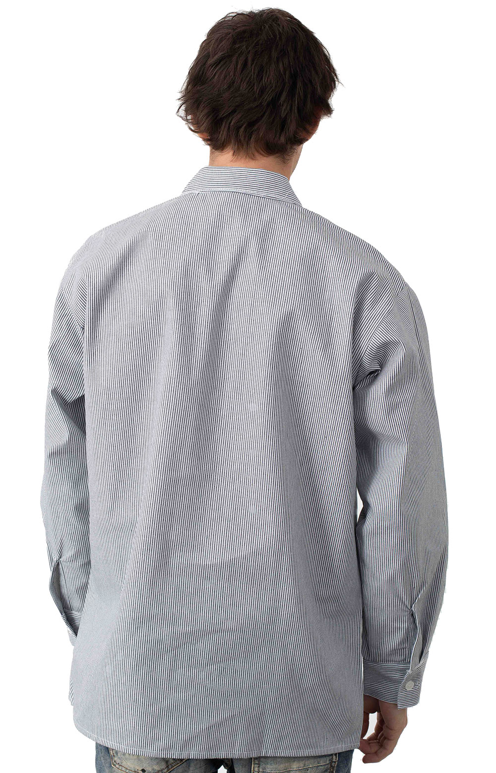 L/S Front Stripe Button-Up Shirt - Hickory  3