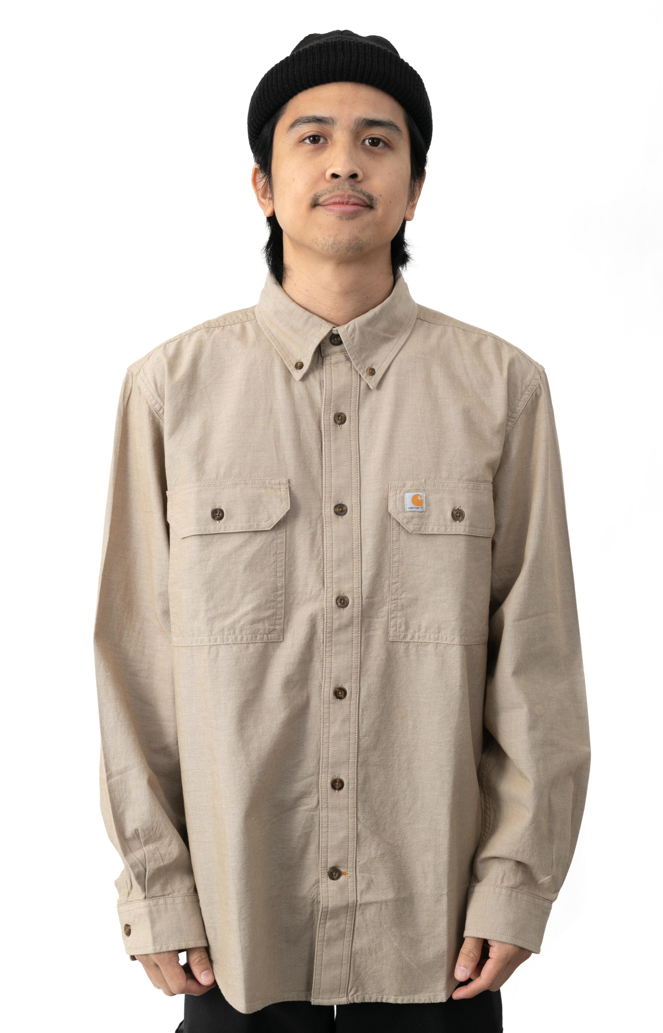 (104368) Original Fit Midweight L/S Button-Up Shirt - Dark Tan Chambray