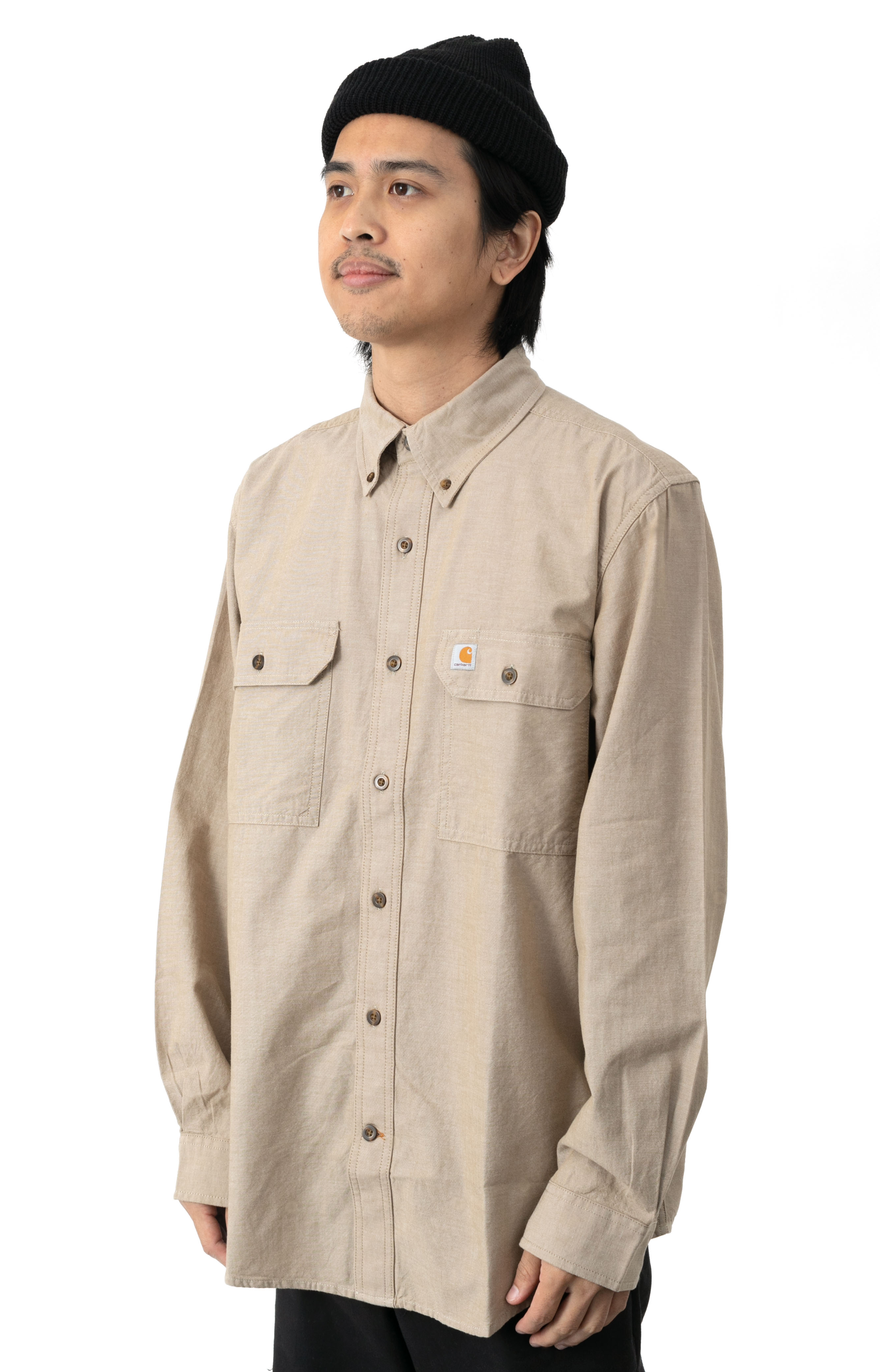 (104368) Original Fit Midweight L/S Button-Up Shirt - Dark Tan Chambray  2