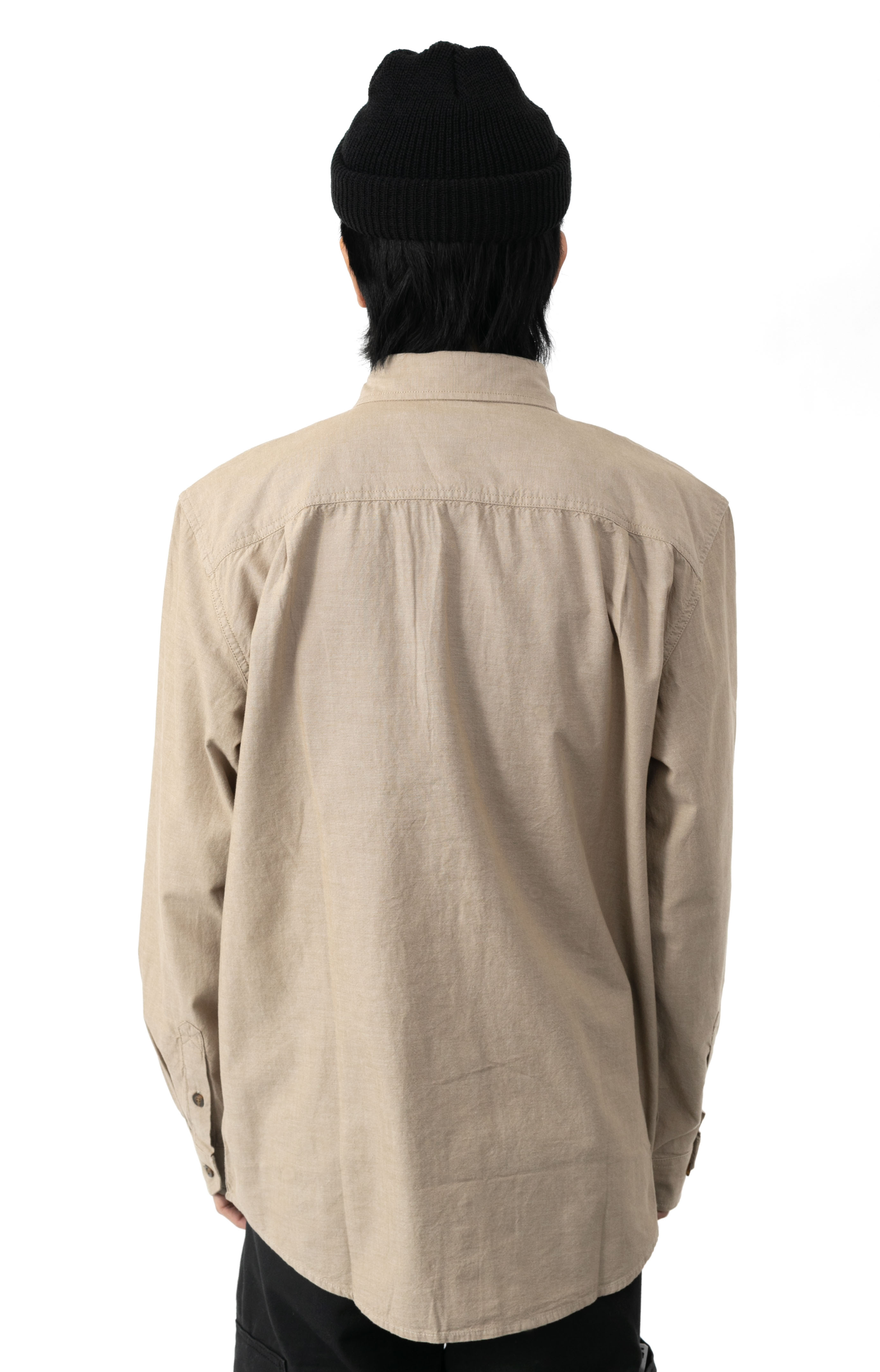 (104368) Original Fit Midweight L/S Button-Up Shirt - Dark Tan Chambray  3
