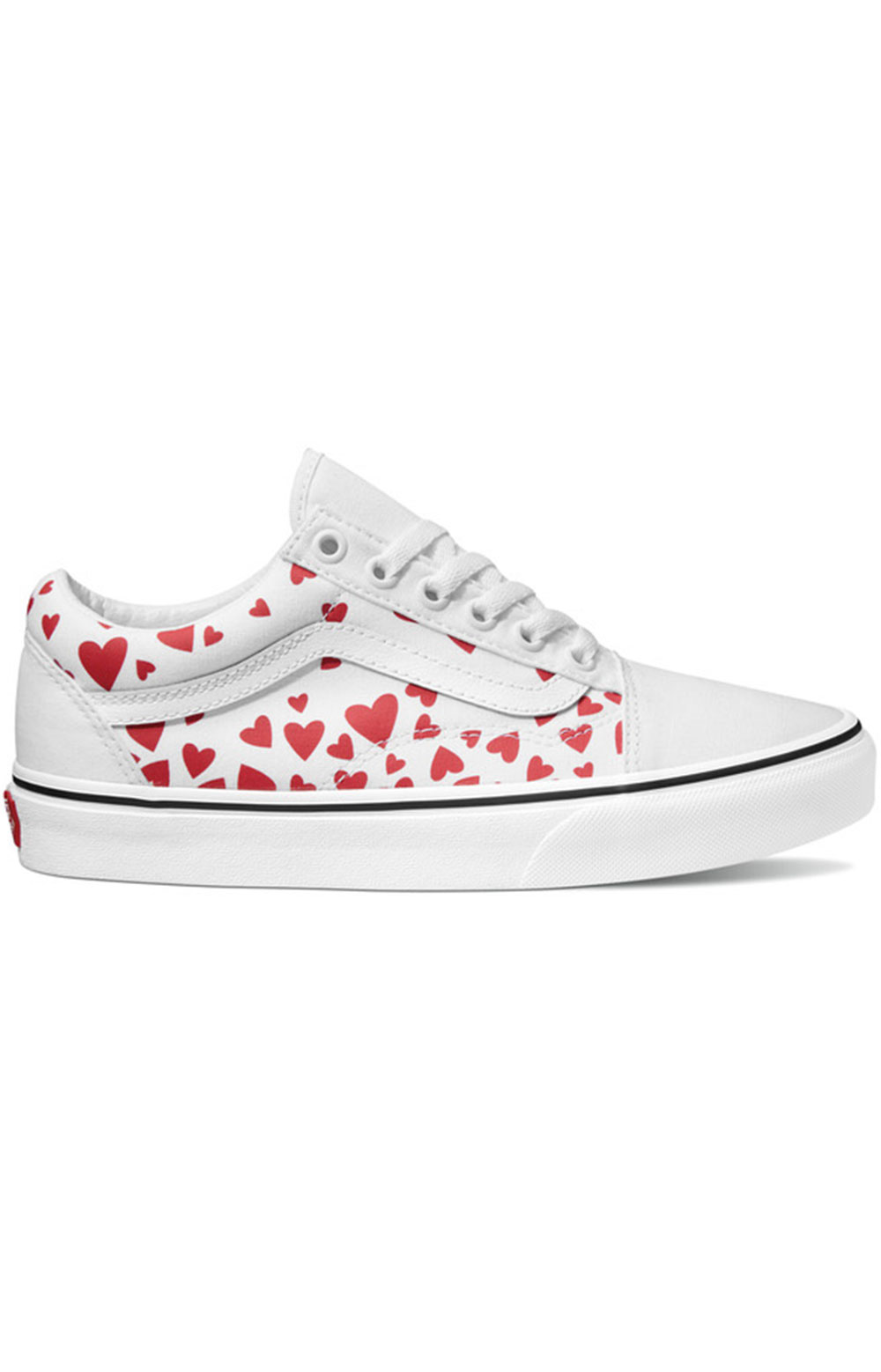(WKT4S0) Valentines Hearts Old Skool Shoes - White