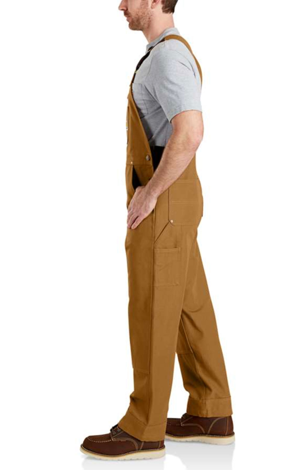 (102776) Relaxed Fit Duck Bib Overalls - Carhartt Brown 4