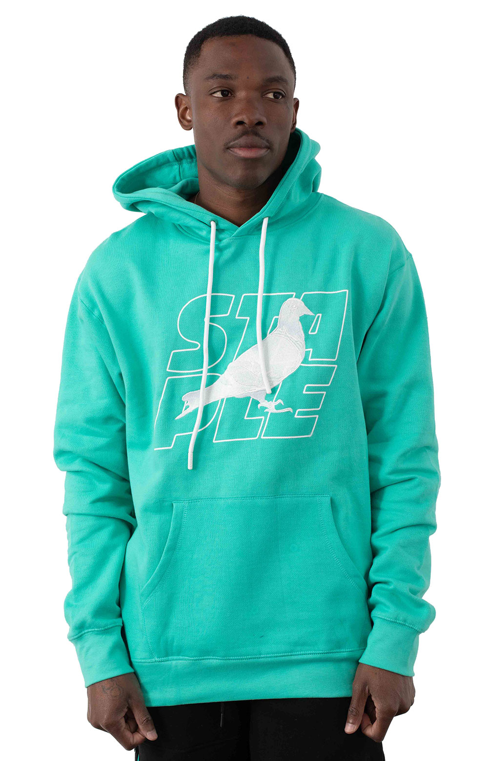 Stacked Logo Pullover Hoodie - Teal