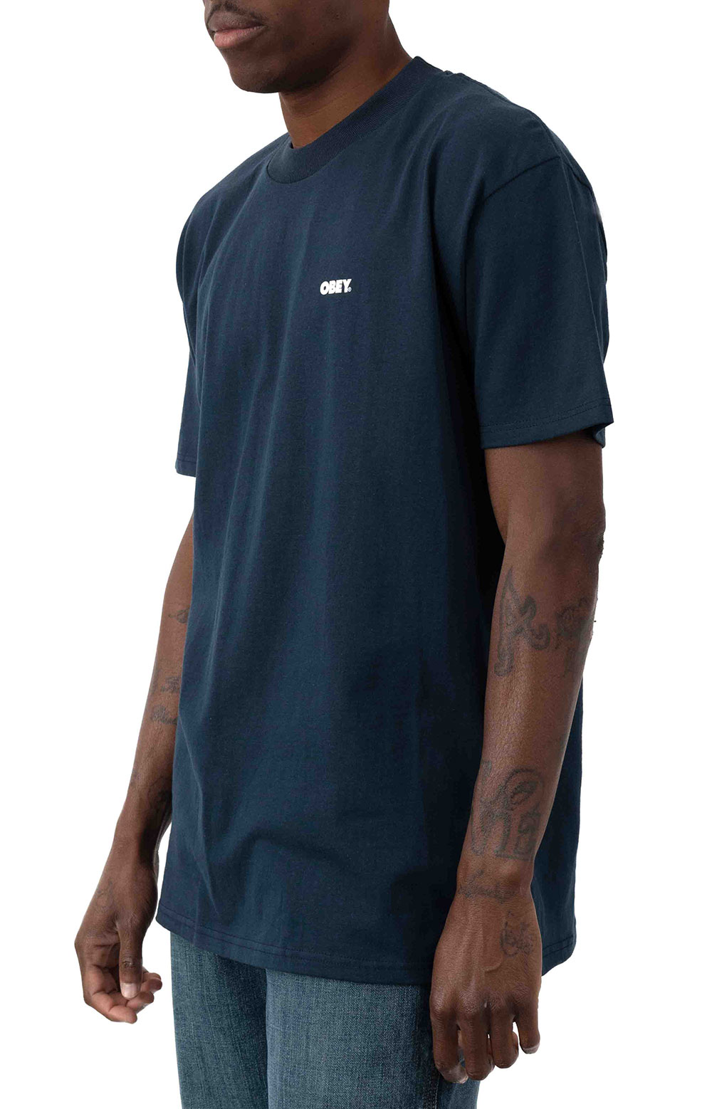 Obey Bold T-Shirt - Navy  2