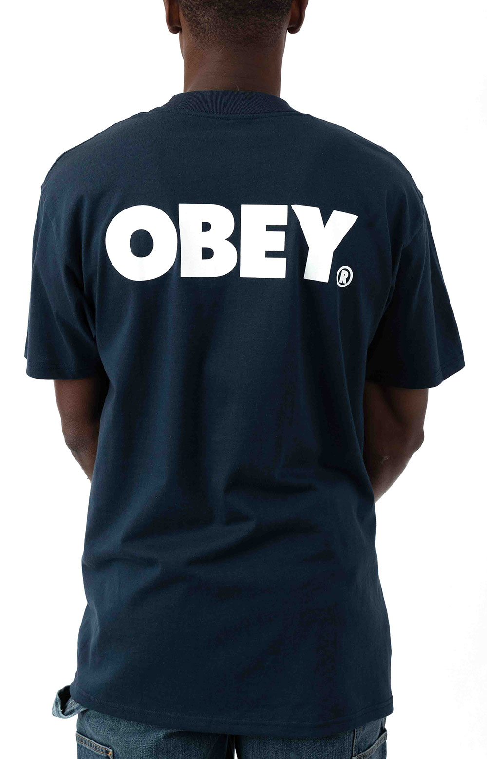 Obey Bold T-Shirt - Navy  3