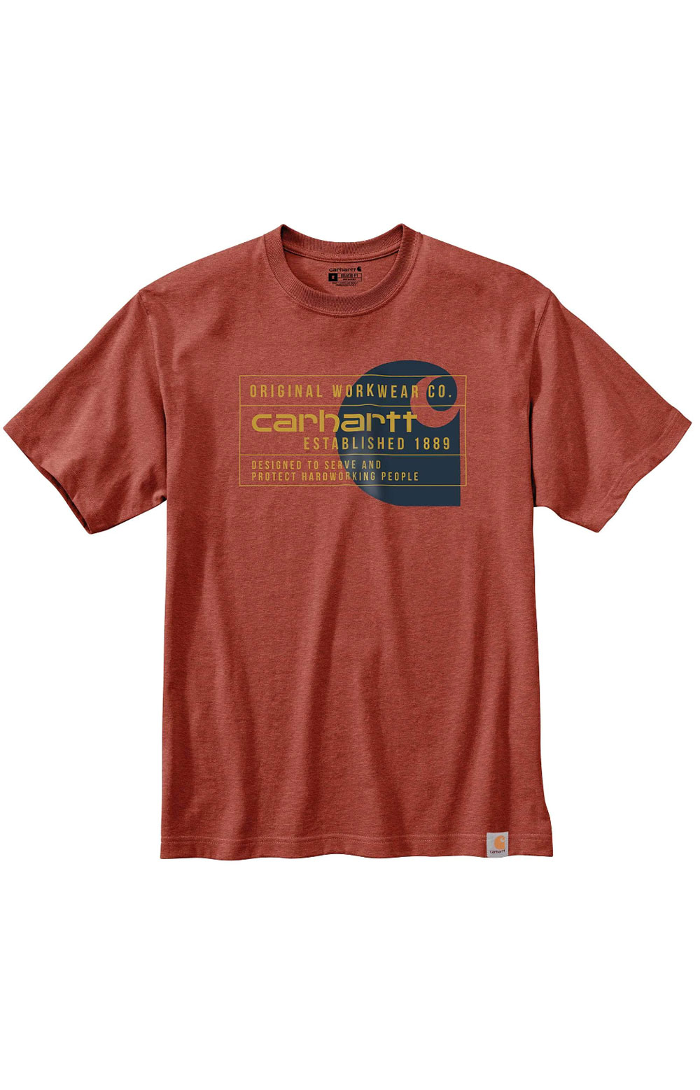 (104610) Relaxed Fit HW S/S Workwear Graphic T-Shirt - Auburn Heather