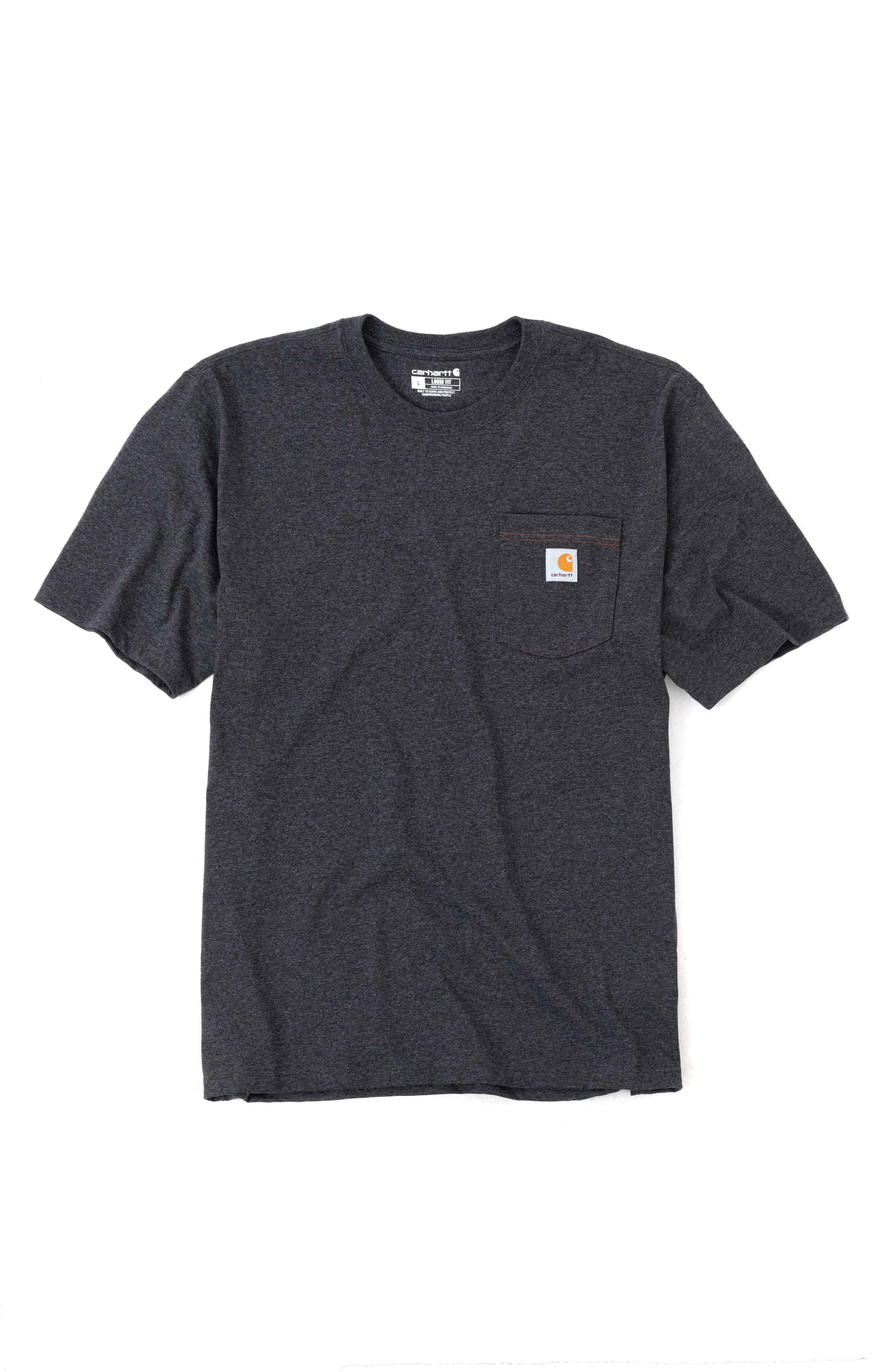 (104608) Loose Fit HW S/S Pocket Railroad Graphic T-Shirt - Carbon Heather  2