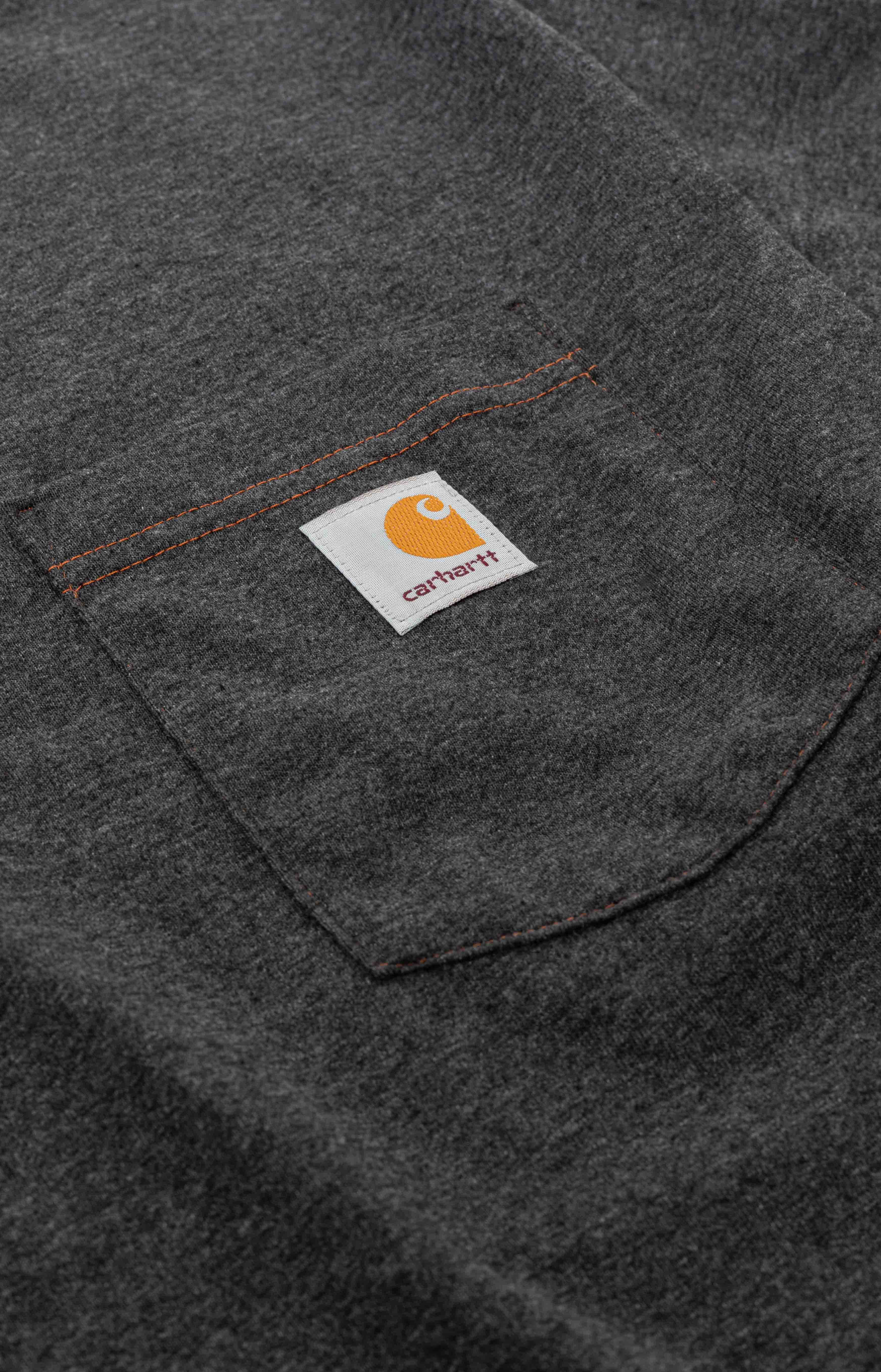 (104608) Loose Fit HW S/S Pocket Railroad Graphic T-Shirt - Carbon Heather  3