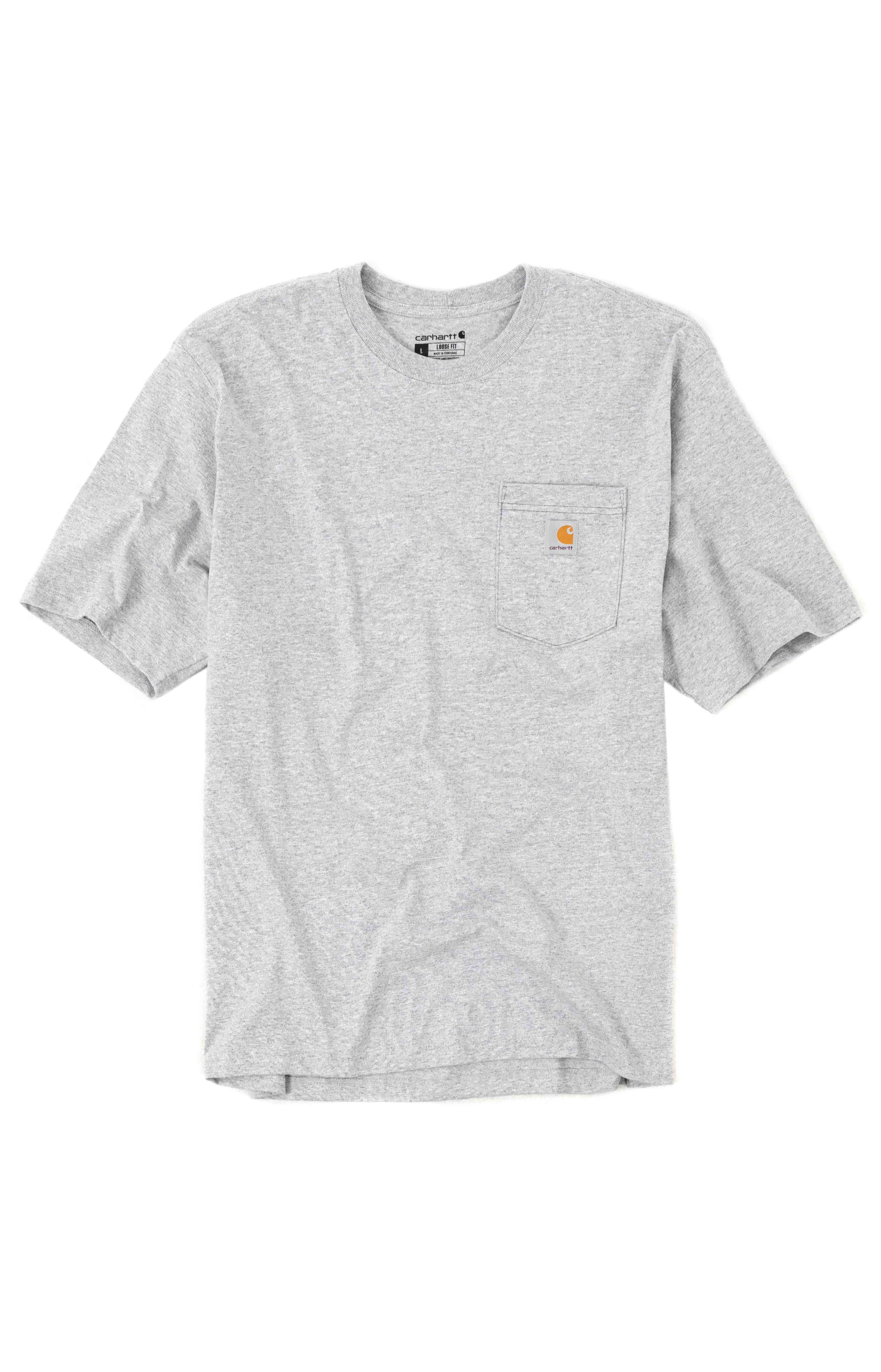 (104608) Loose Fit HW S/S Pocket Railroad Graphic T-Shirt - Heather Grey 2