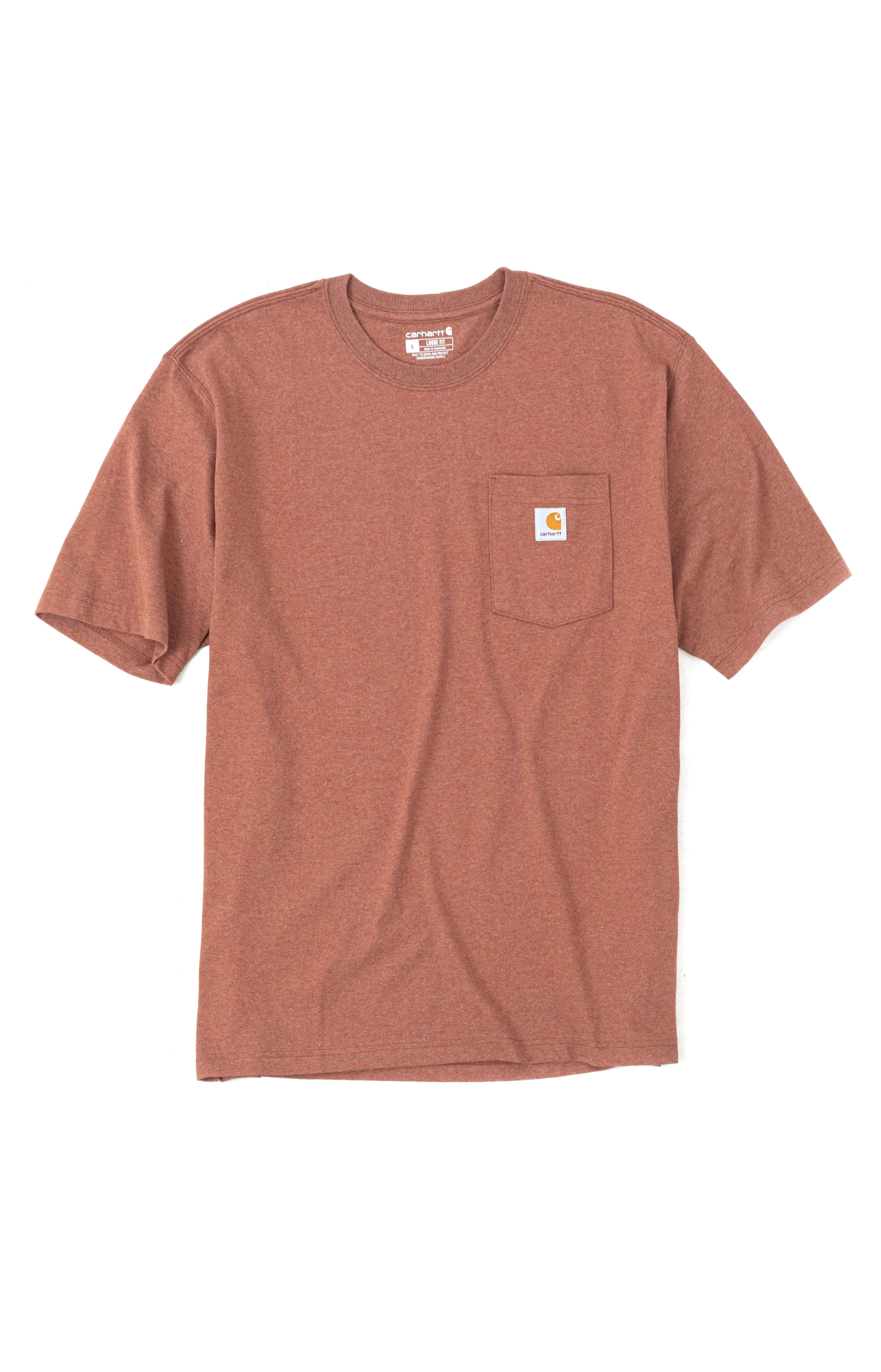 (104797) Loose Fit S/S Pocket Woods Graphic T-Shirt - Auburn Heather  2