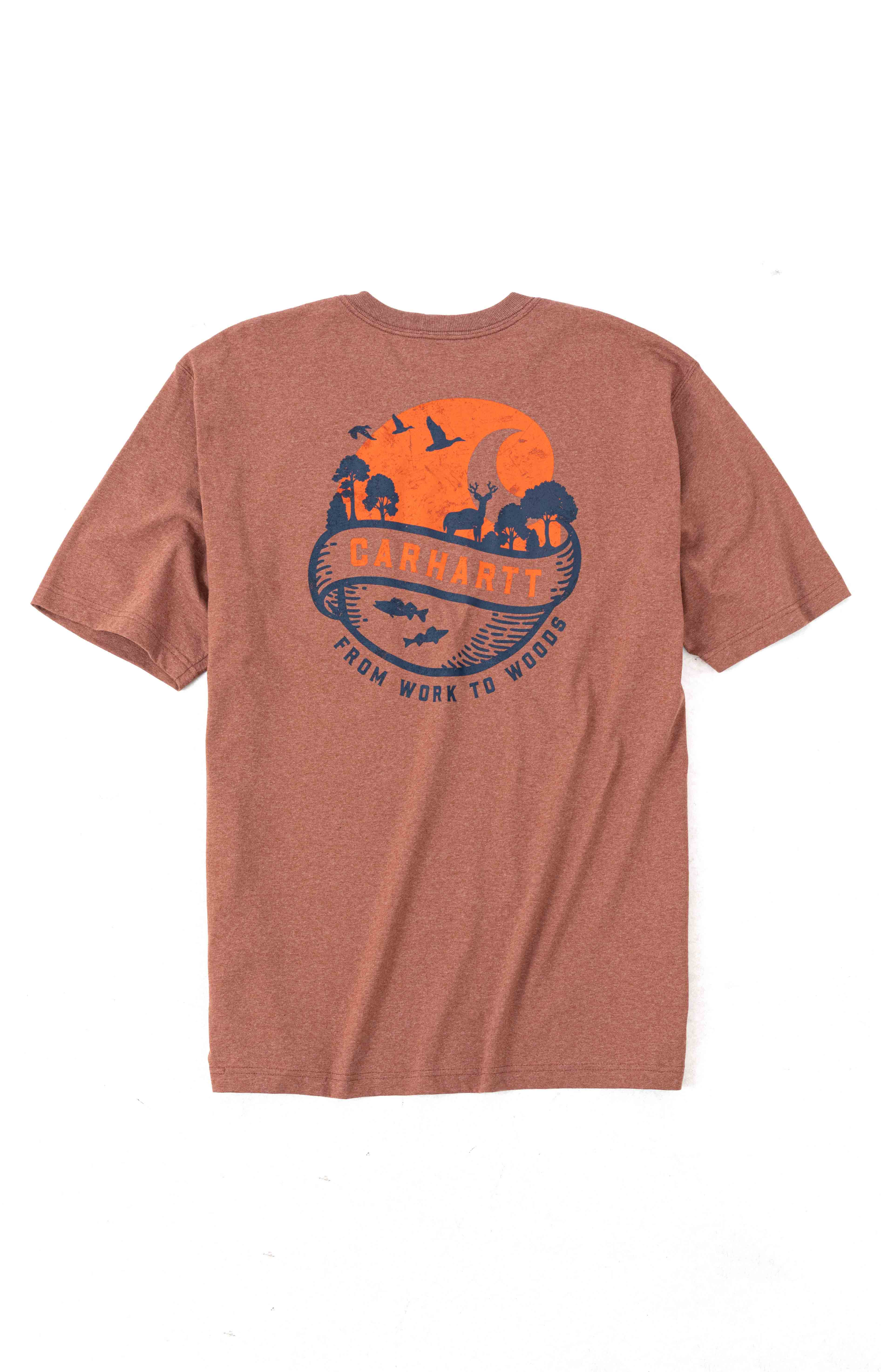 (104797) Loose Fit S/S Pocket Woods Graphic T-Shirt - Auburn Heather