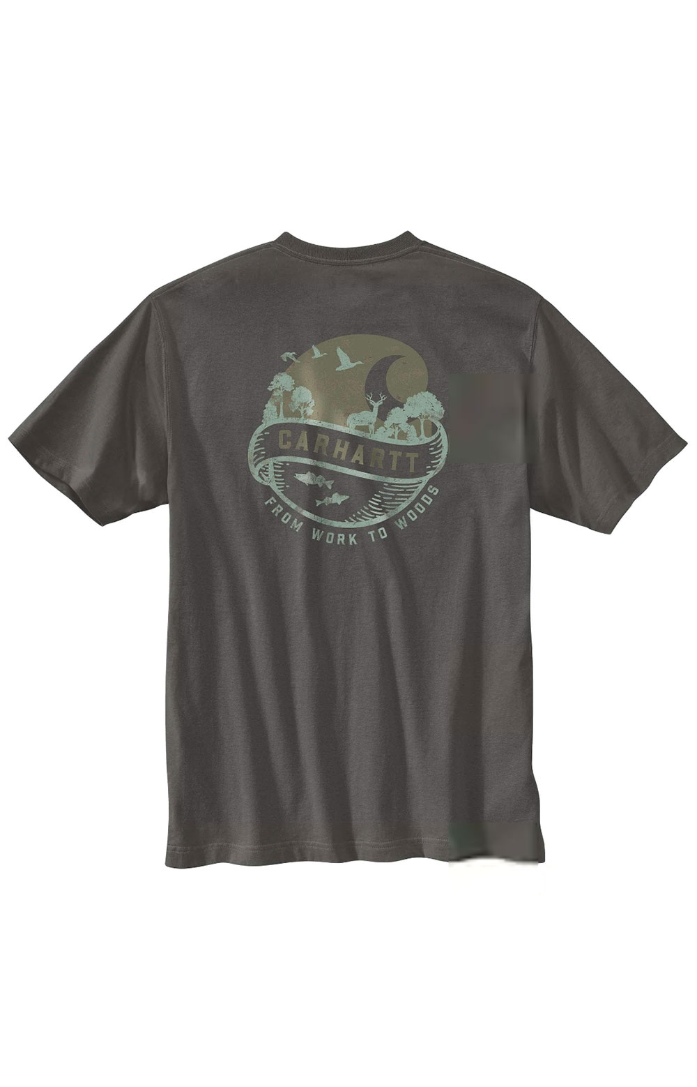 (104797) Loose Fit S/S Pocket Woods Graphic T-Shirt - Peat