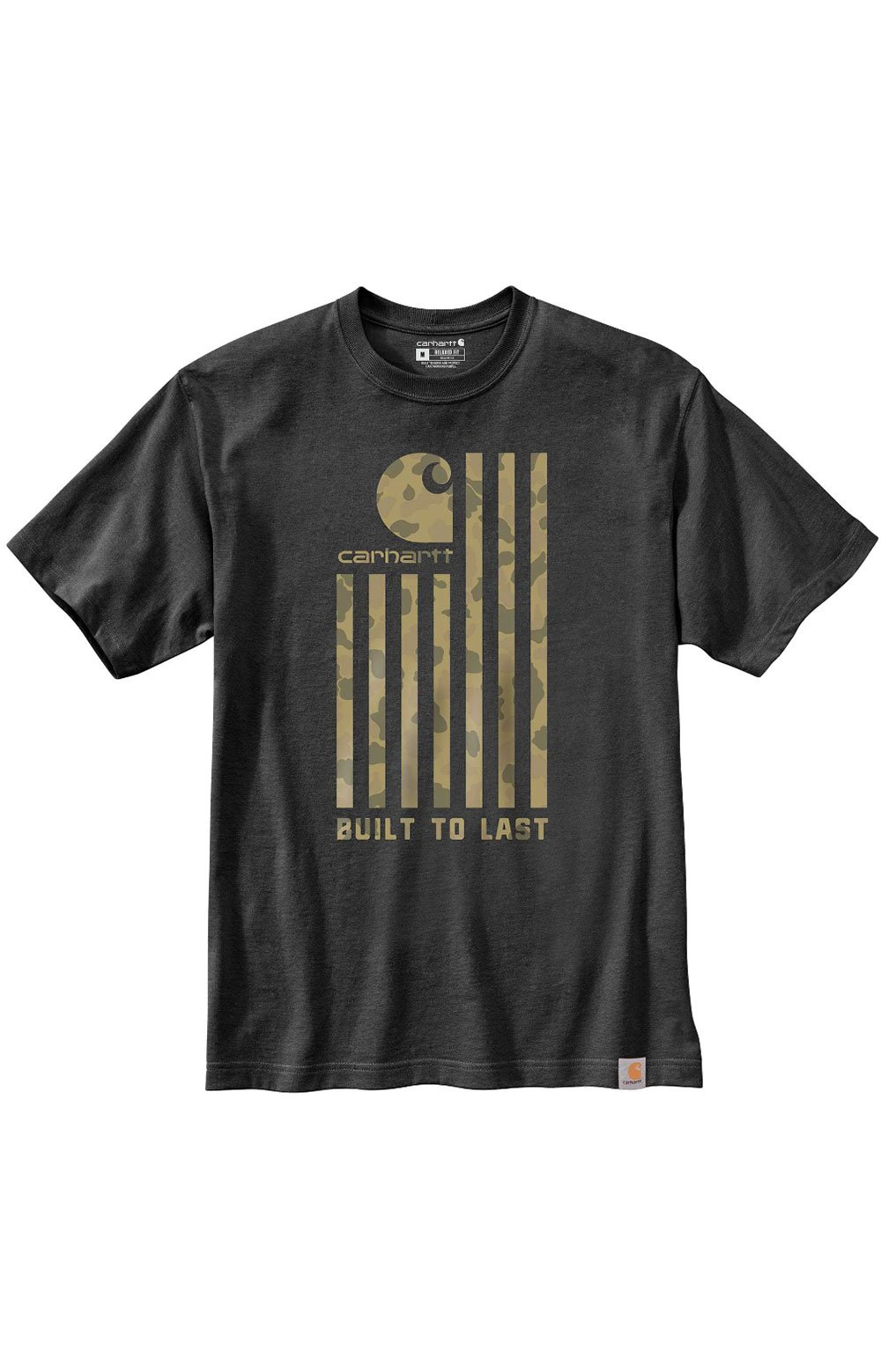 (104619) Relaxed Fit Midweight S/S Flag Graphic T-Shirt - Carbon Heather