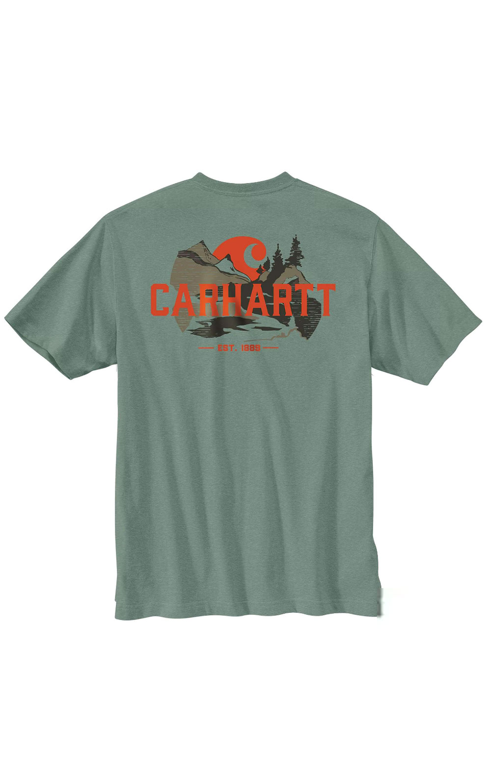 (104615) Relaxed Fit HW S/S Pocket Outdoor Graphic T-Shirt - Leaf Green Heather